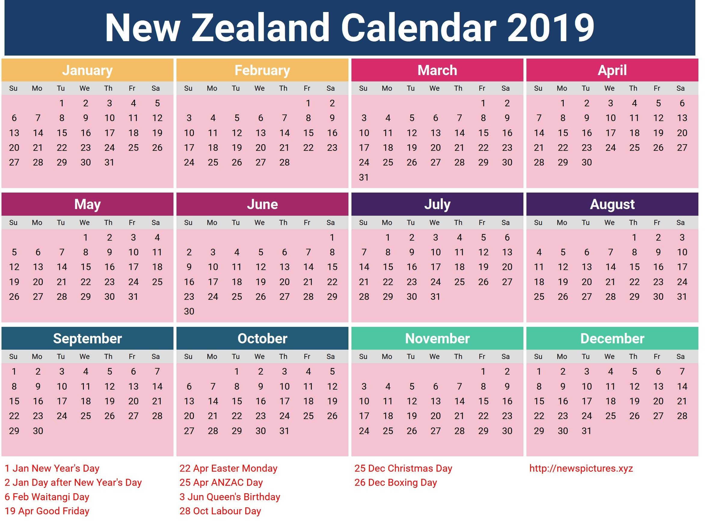Year 2019 Calendar Nz - Littledelhisf 2019 Calendar Nz