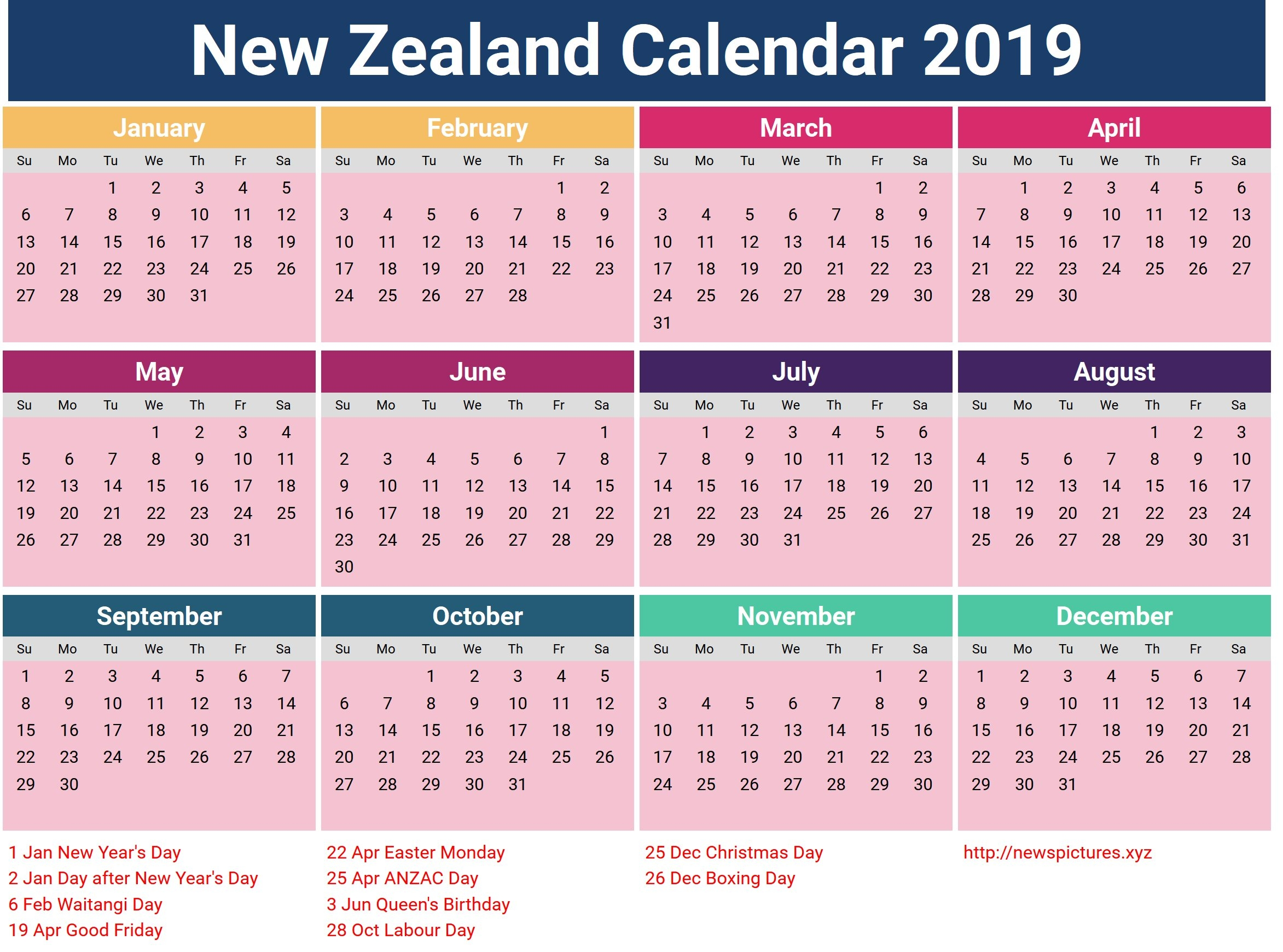 Year 2019 Calendar Nz - Littledelhisf Calendar 2019 Zealand