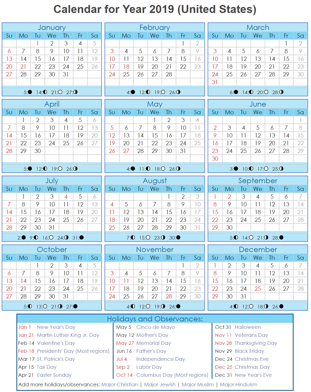 Year 2019 Calendar – United States | Free Printable 2018 Calendar Calendar Year 2019 United States