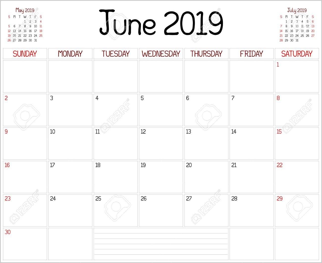Year 2019 June Planner - A Monthly Planner Calendar For June 9/2019 Calendar