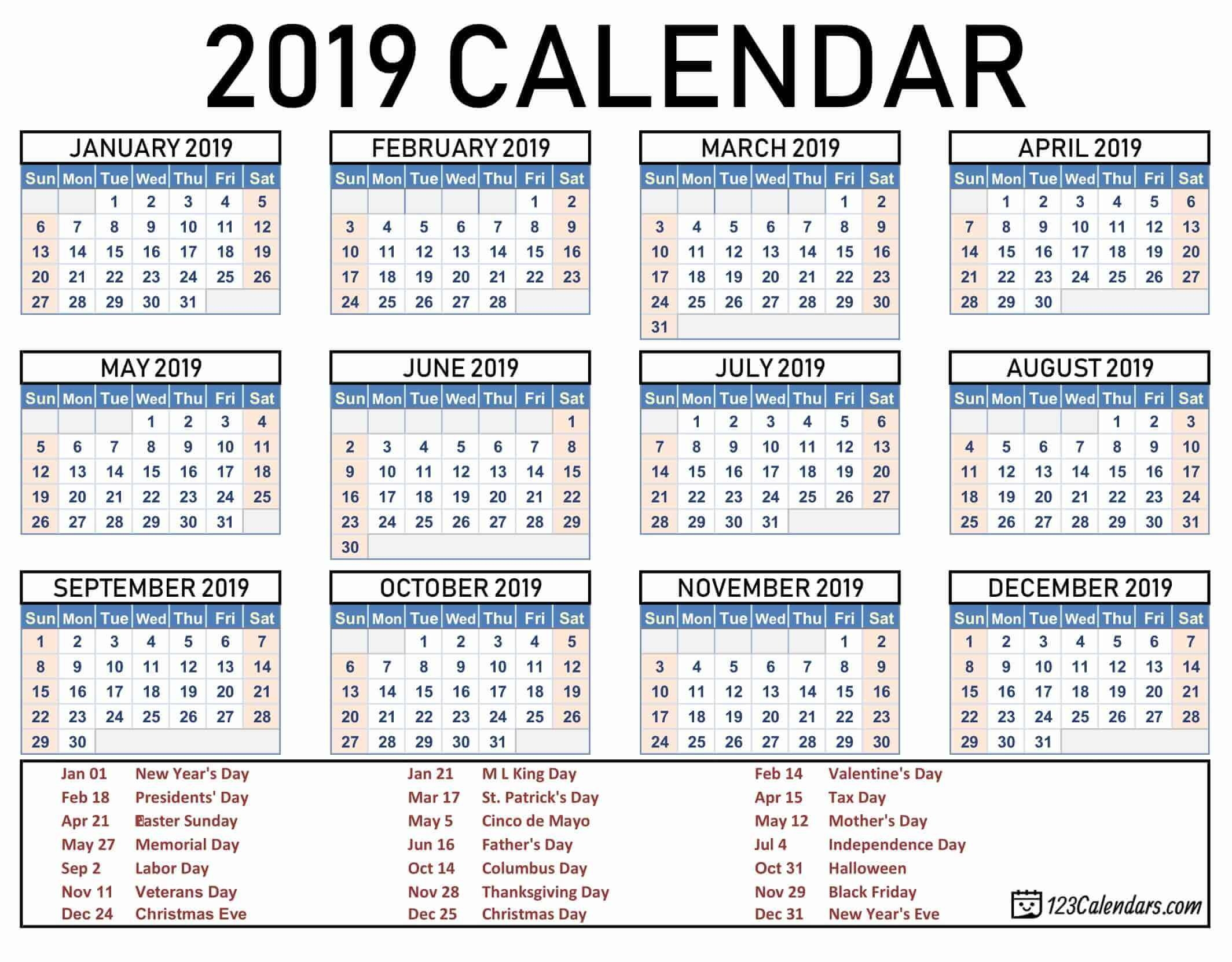 Year 2019 Printable Calendar Templates - 123Calendars Picture Of A 2019 Calendar