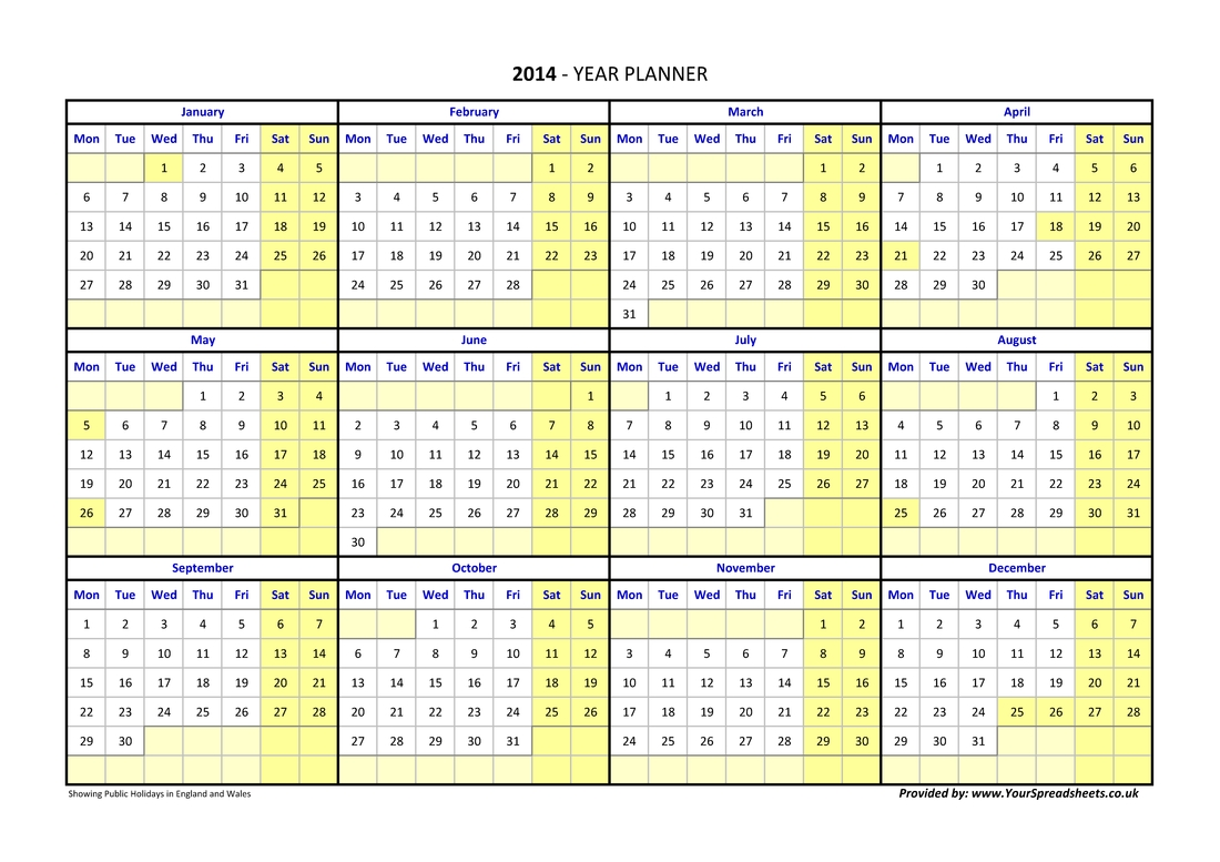 Year Planner Calendar 2019 Excel Germany