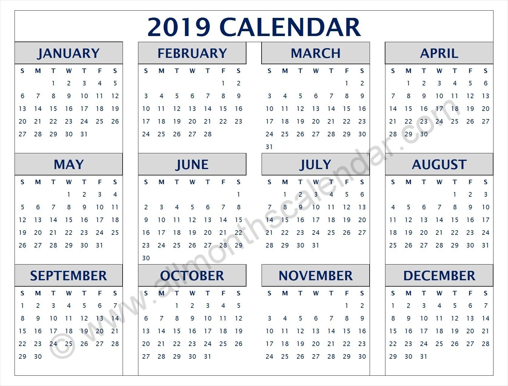 Yearly 2019 Calendar Pdf | 12 Month 2019 Calendar Printable Calendar 2019 Pdf