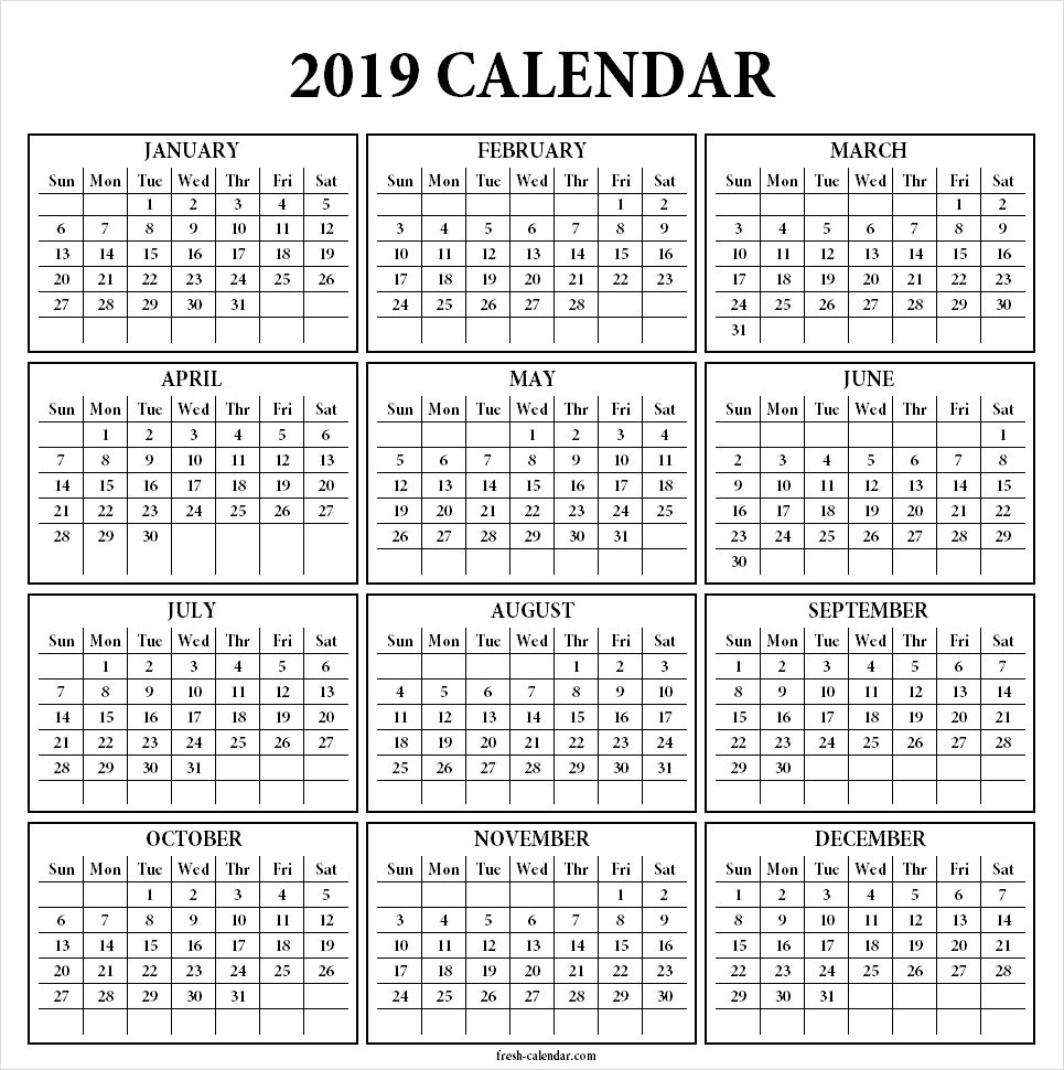 Yearly 2019 Calendar Template Printable | One Page Print Out Calendar 2019 One Page Printable