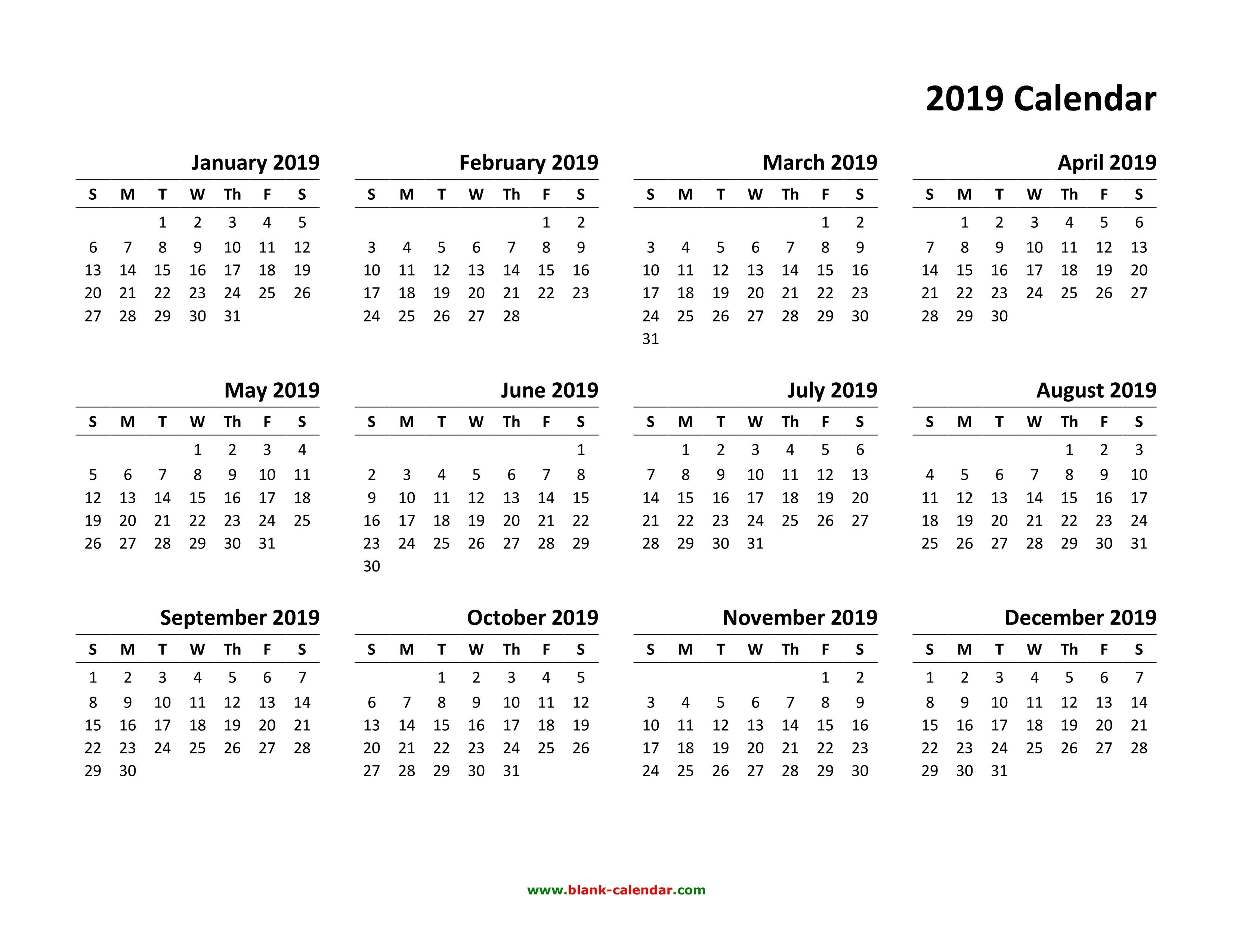 Yearly Calendar 2019 | Free Download And Print Calendar 2019 Pdf