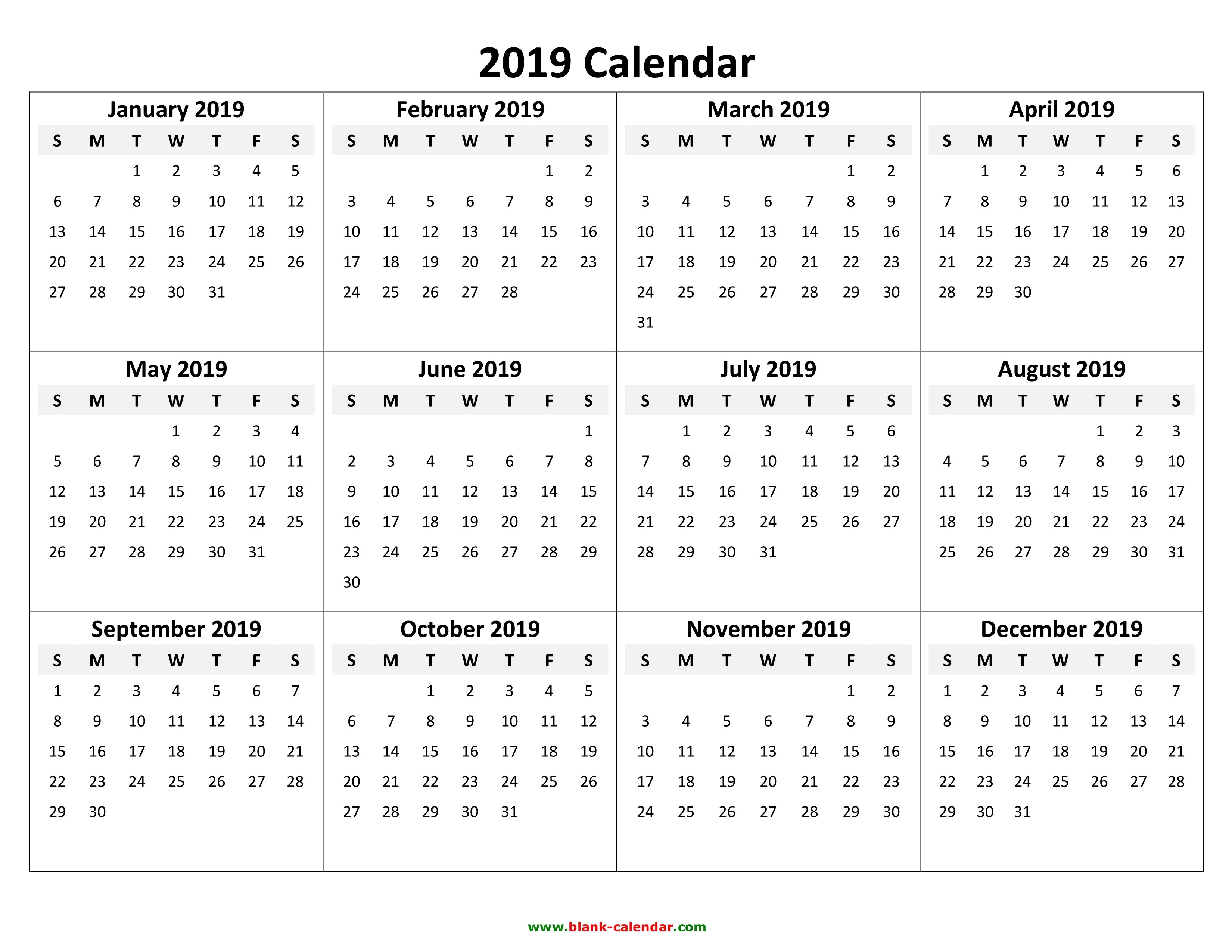 Yearly Calendar 2019 | Free Download And Print Calendar 2019 Yearly Template