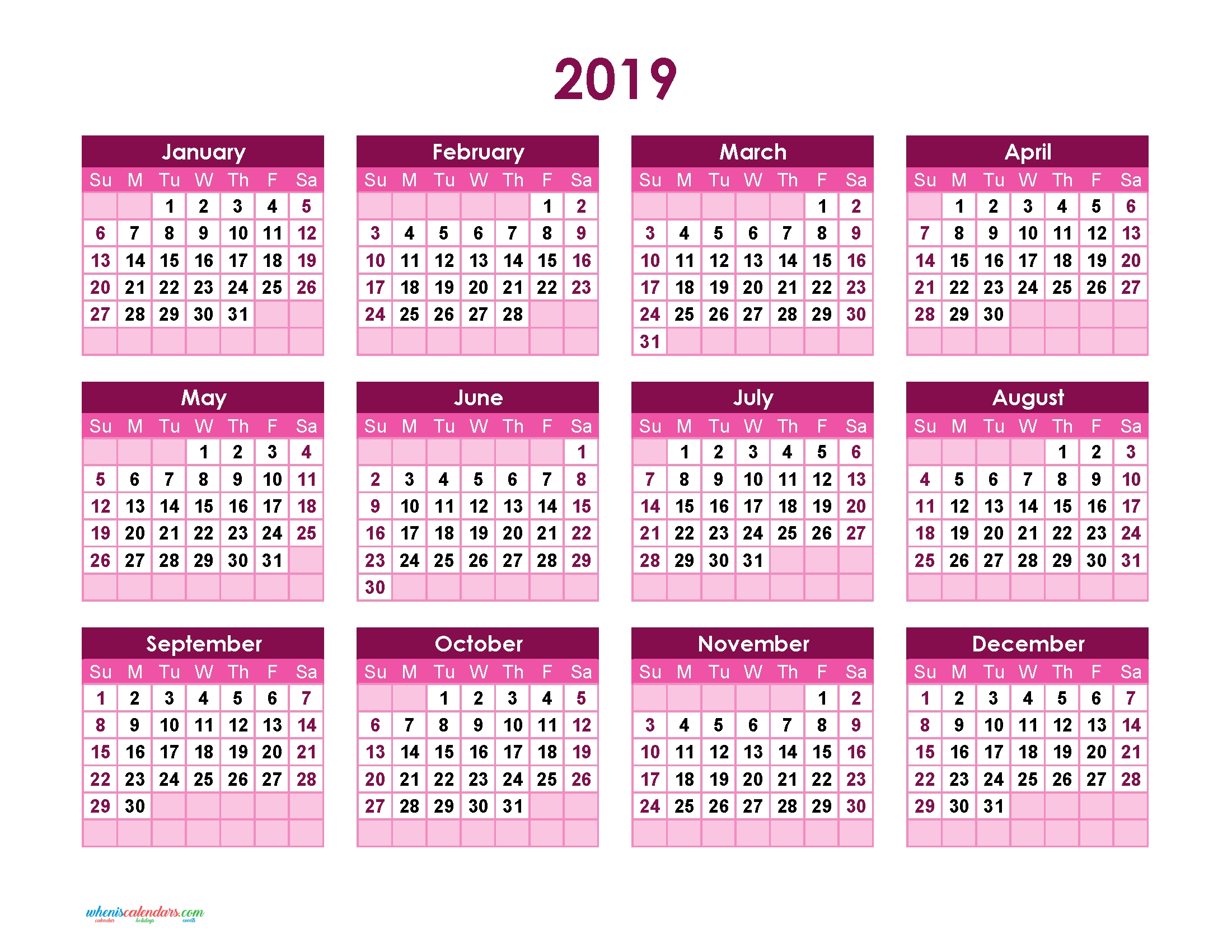 Yearly Calendar 2019 Printable Full Year Calendar 2019 (Theme Calendar 2019 Png