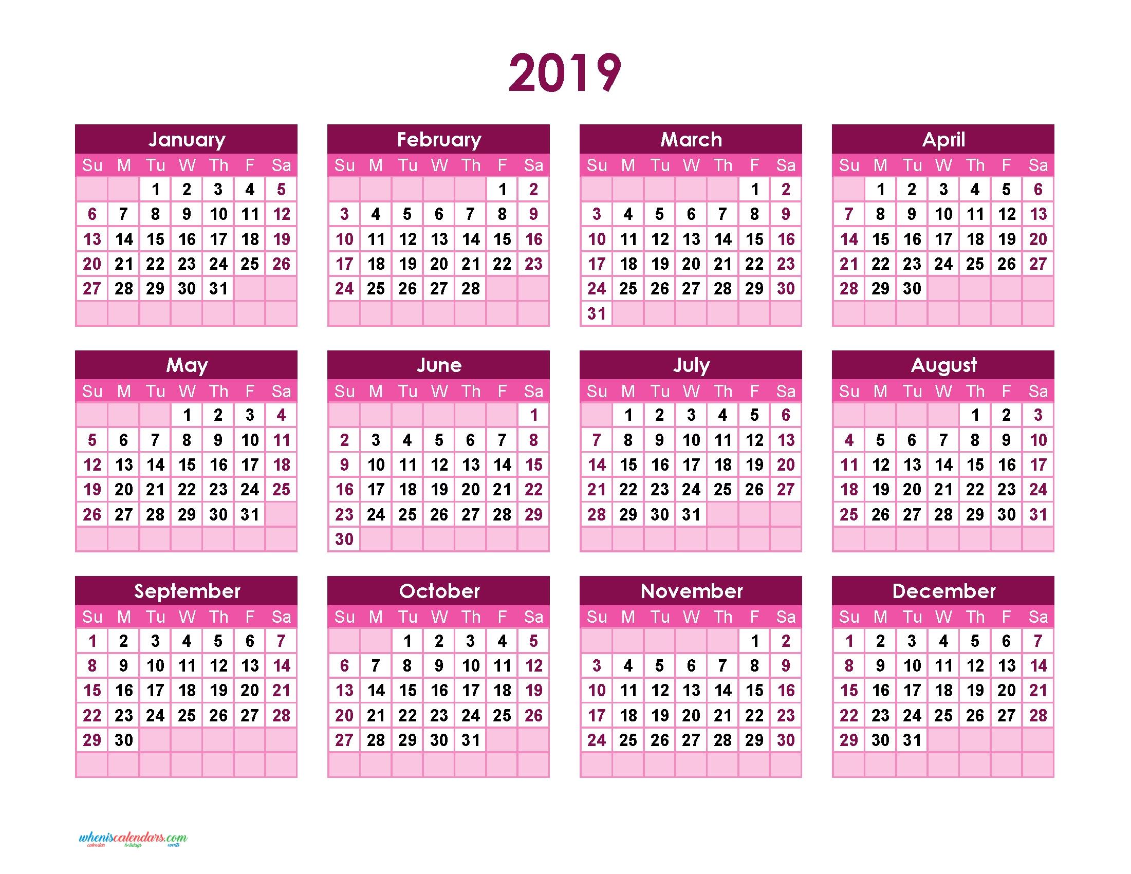 Yearly Calendar 2019 Printable Full Year Calendar 2019 (Theme W 2019 Calendar