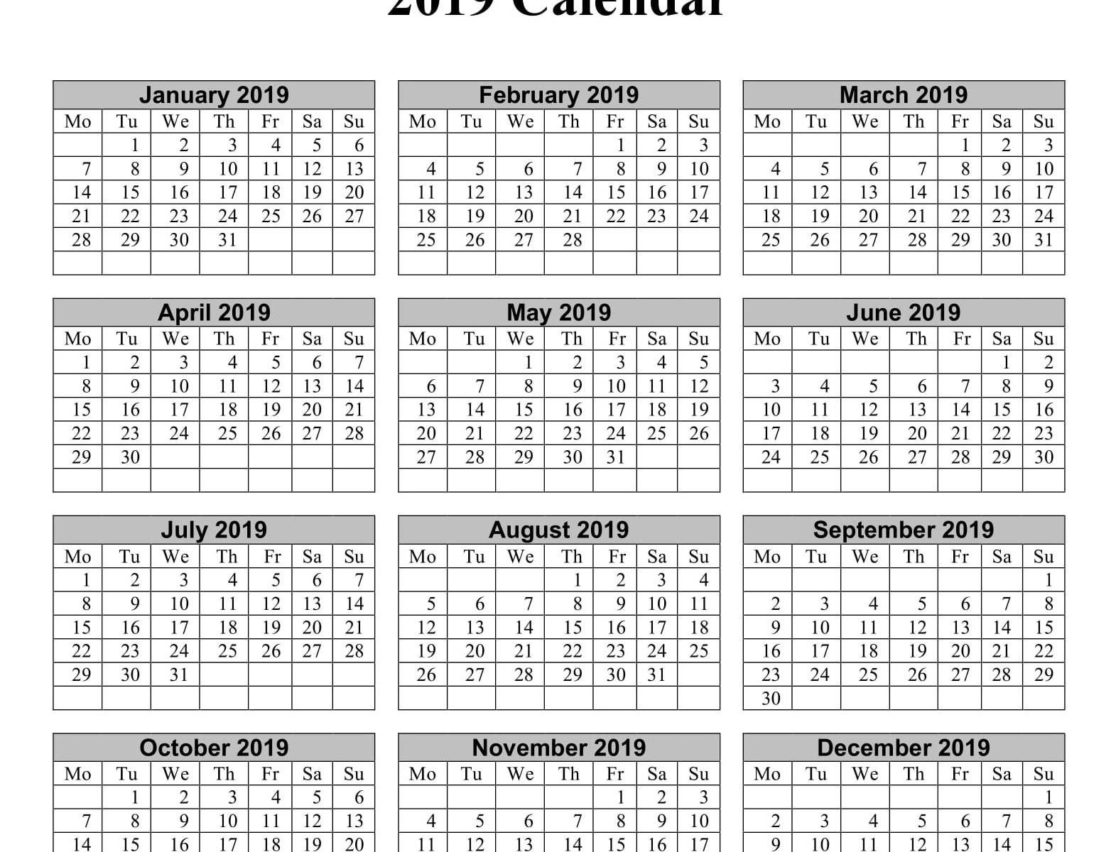 Yearly Calendar 2019 Word Doc | Free Printable 2018 Calendar Calendar 2019 Doc