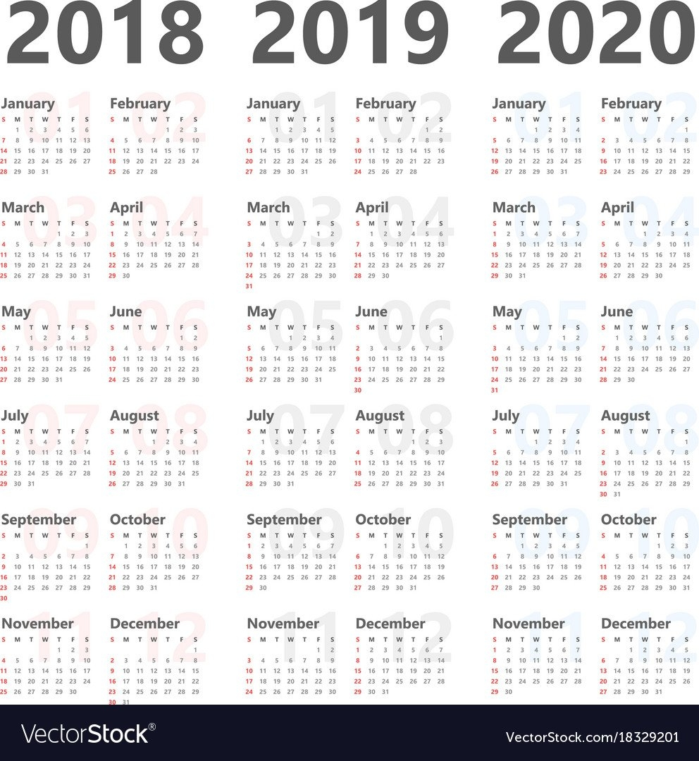 Yearly Calendar For Next 3 Years 2018 To 2020 Vector Image 3 Year Calendar 2019