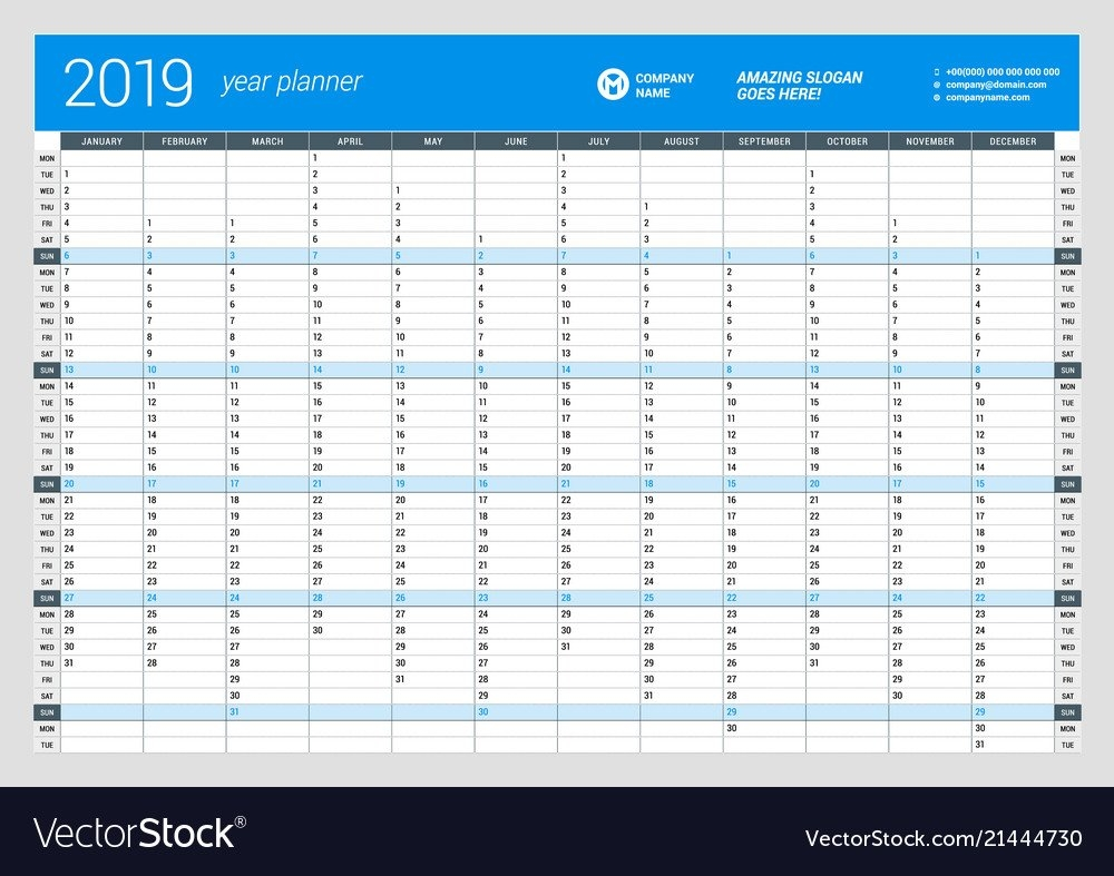 Yearly Wall Calendar Planner Template For 2019 Vector Image Calendar 2019 Year Planner Printable