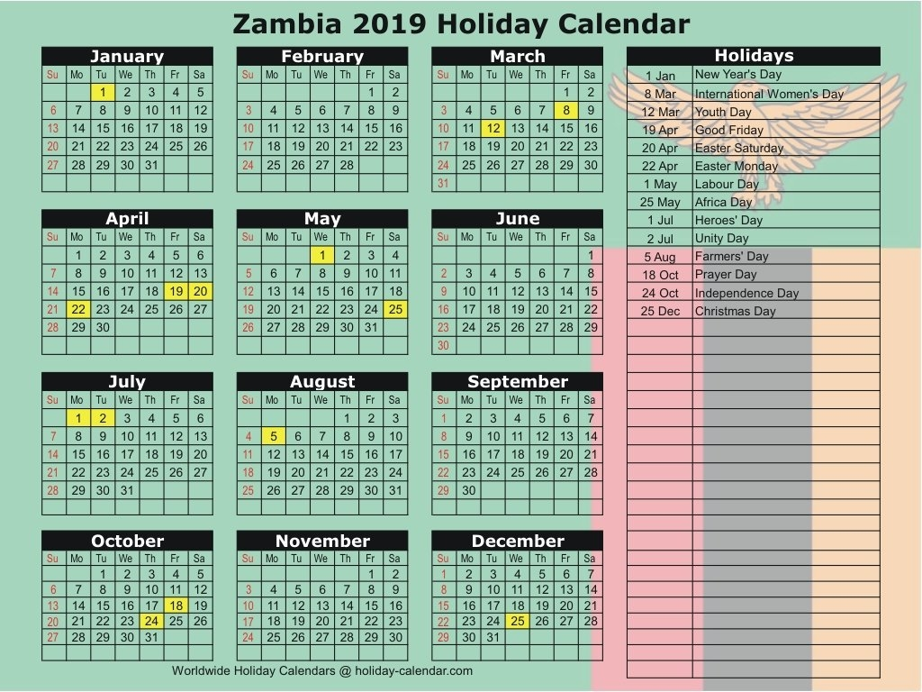 Zambia 2019 / 2020 Holiday Calendar Calendar 2019 Good Friday