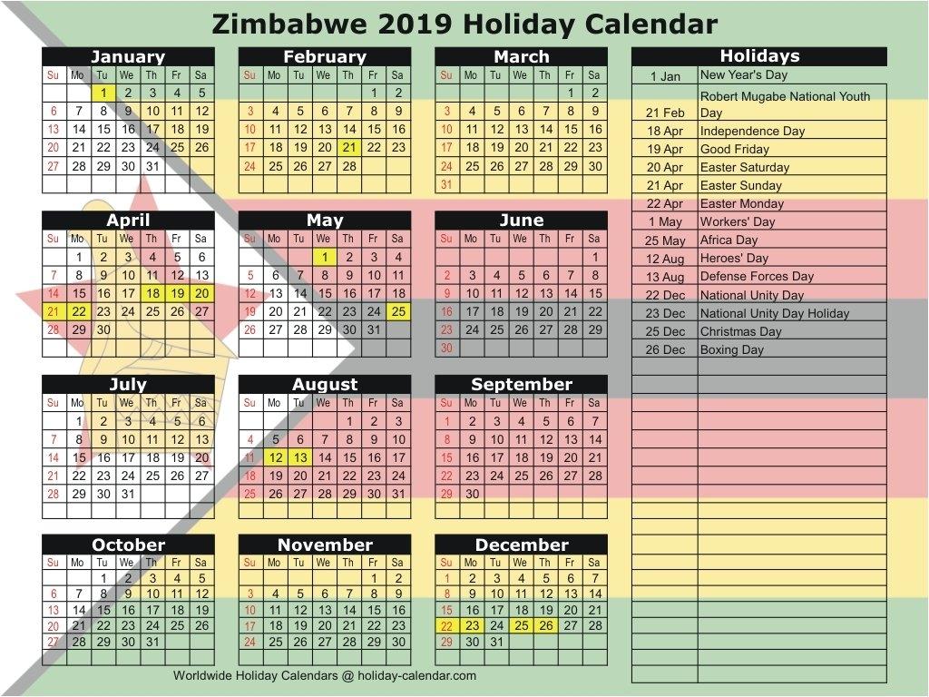 Zimbabwe 2019 / 2020 Holiday Calendar Calendar 2019 Zimbabwe
