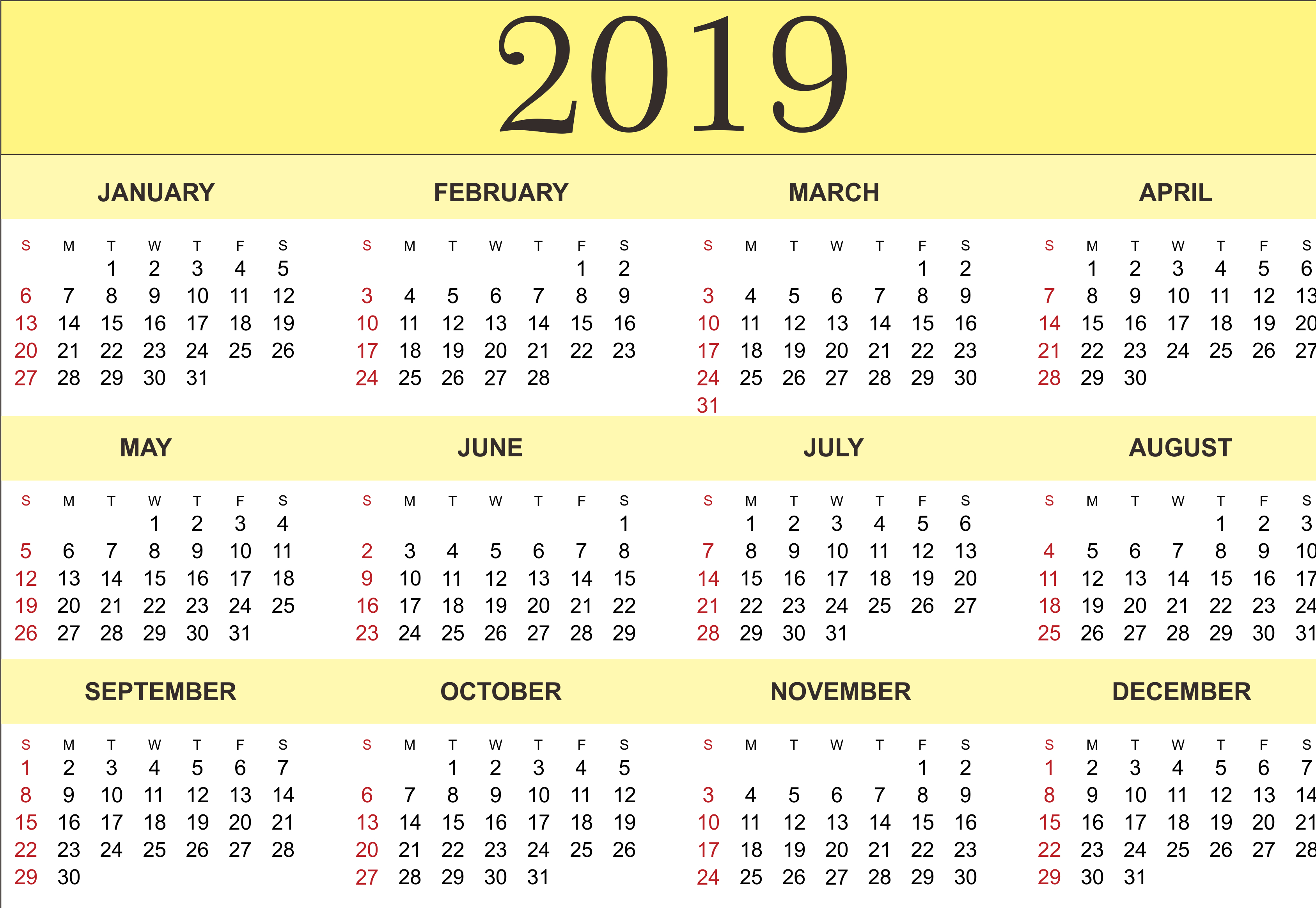 047 Printable Word Sensational 2019 Calendar Free Monthly Template G 2019 Calendar