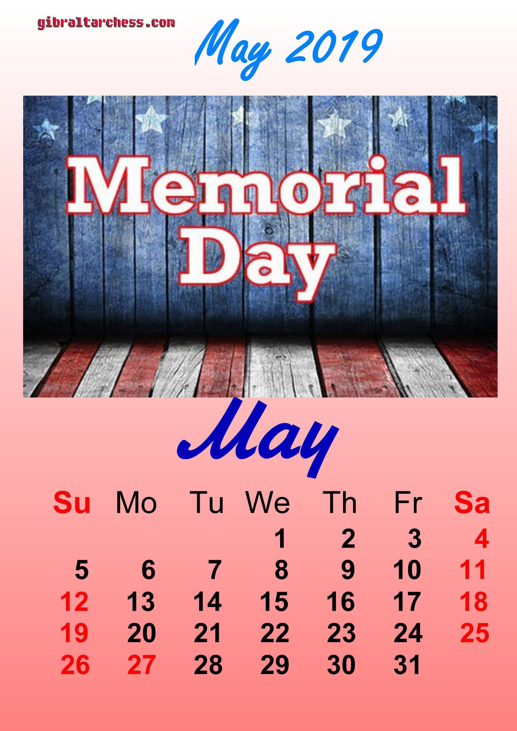 1 May 2019 Holidays Calendar Memorial Day | Calendar Template Calendar 2019 Memorial Day