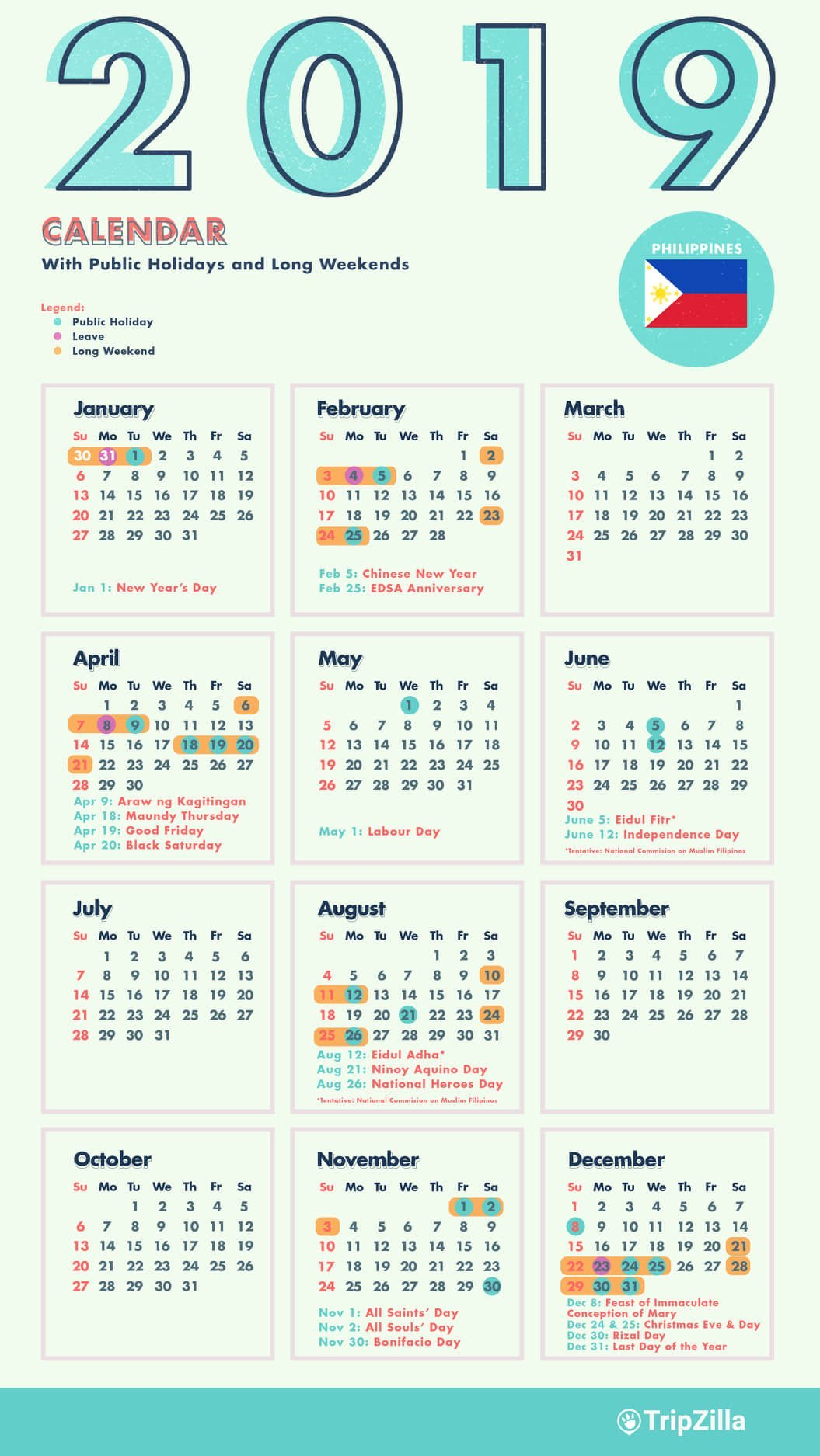 10 Long Weekends In The Philippines In 2019 With Calendar & Cheatsheet Calendar 2019 Holidays
