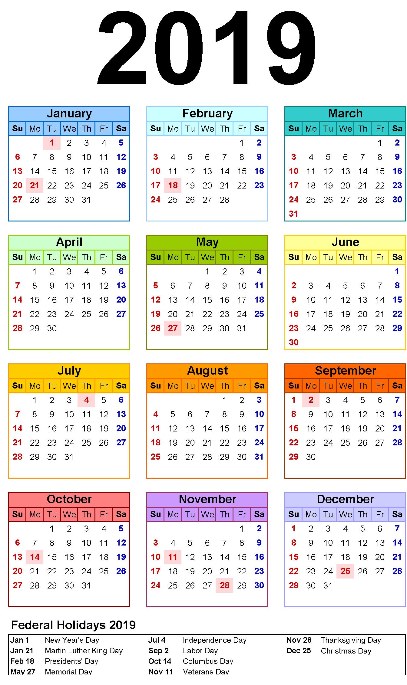 12 Month Calendar In One Page #2019Calendar #holidayscalendar Calendar 2019 Presidents Day