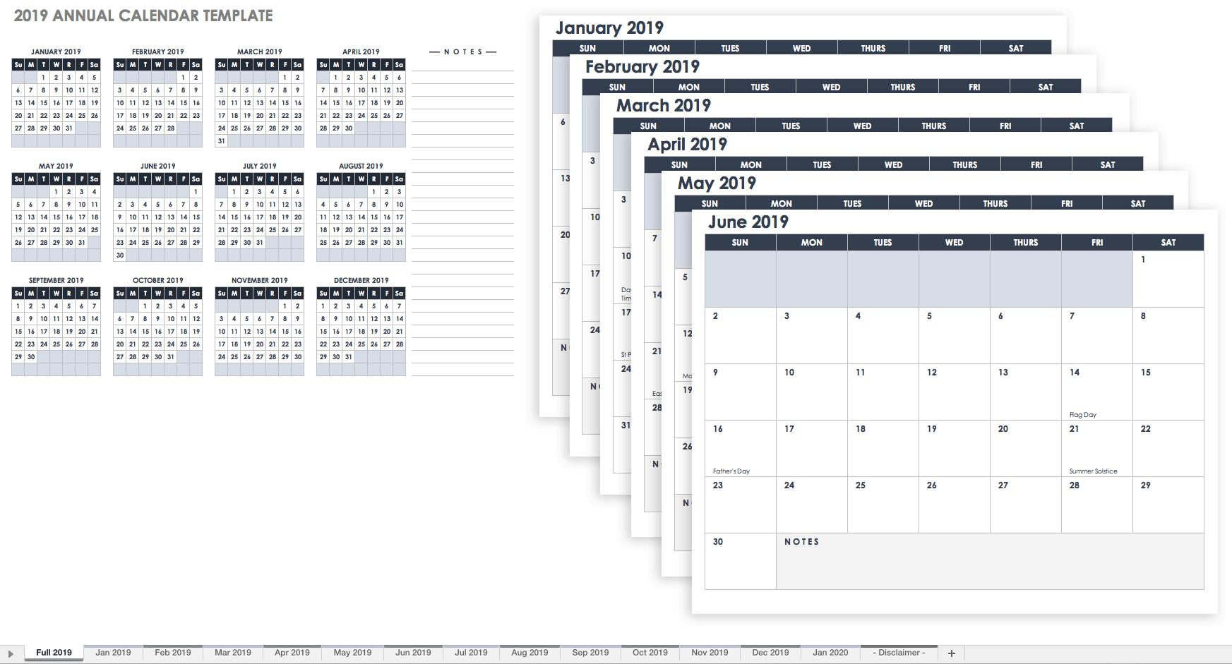 15 Free Monthly Calendar Templates | Smartsheet Calendar 2019 Spreadsheet
