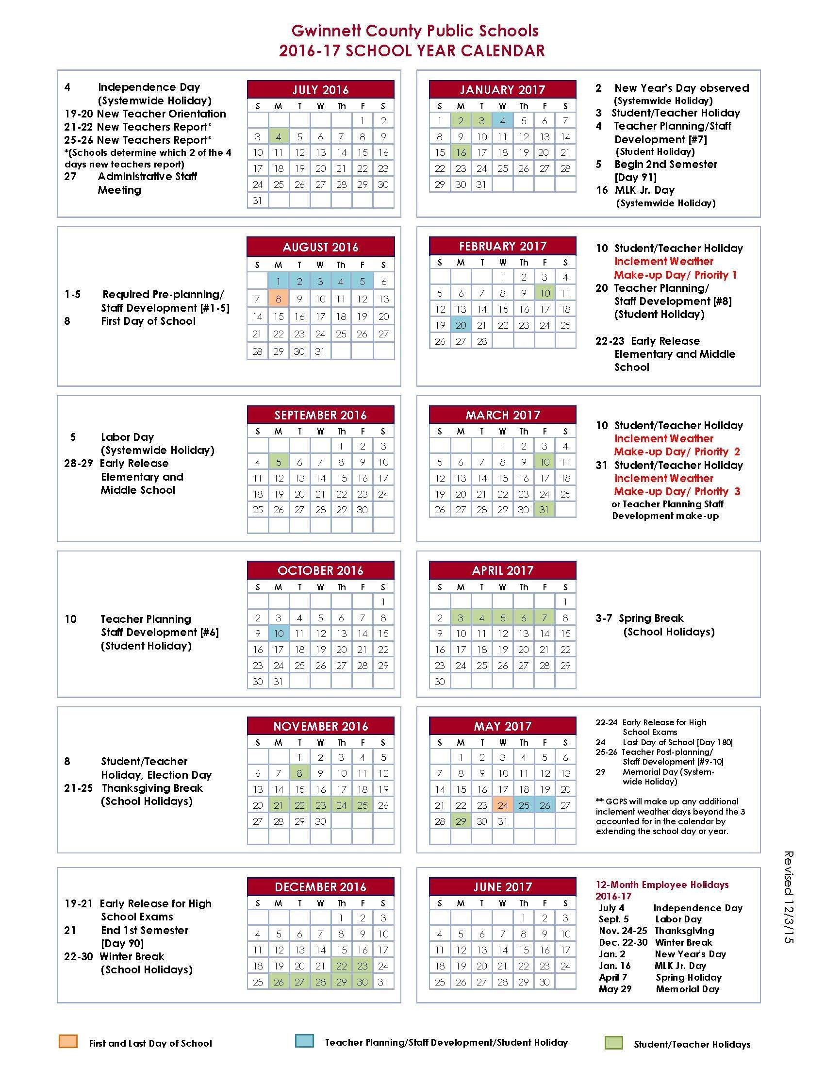 16 Gwinnett County Schools Calendar | Nicegalleries Gwinnett County School Calendar 2019-20