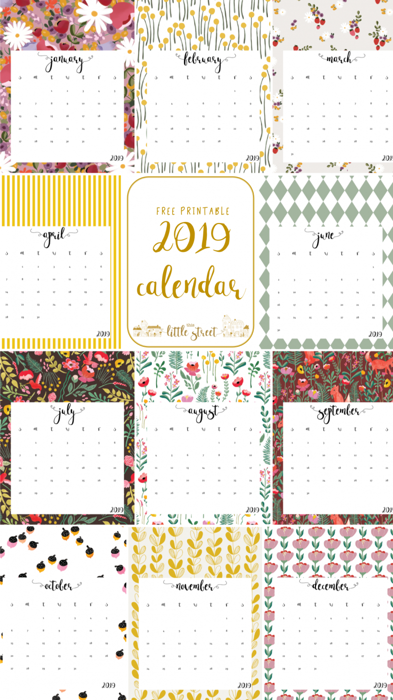 20 Free Printable Calendars For 2019 Calendar 2019 Pretty