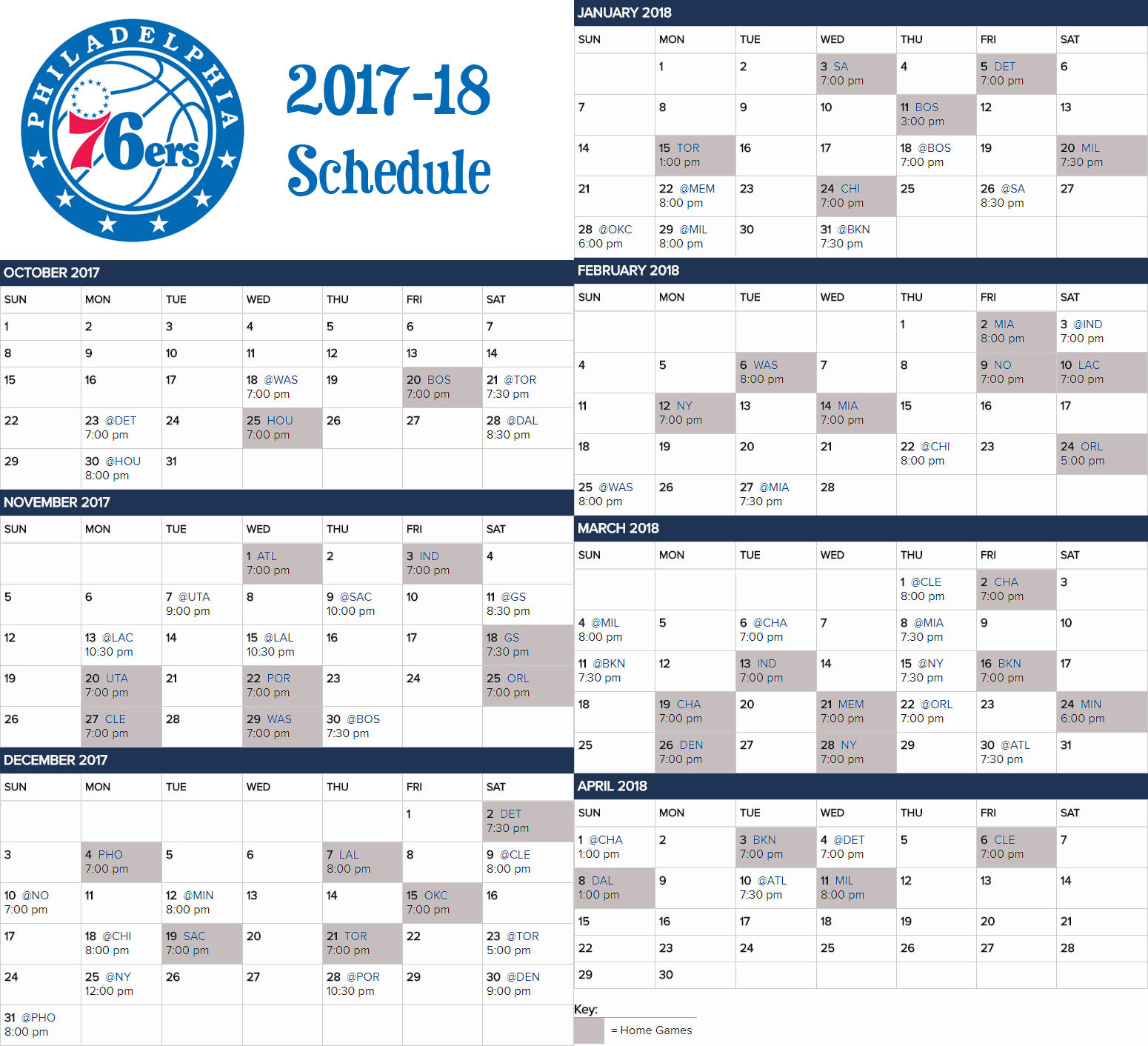 2017-18 76Ers Calendar Schedule For Those Who Like The Visual. : Sixers 76Ers Calendar 2019