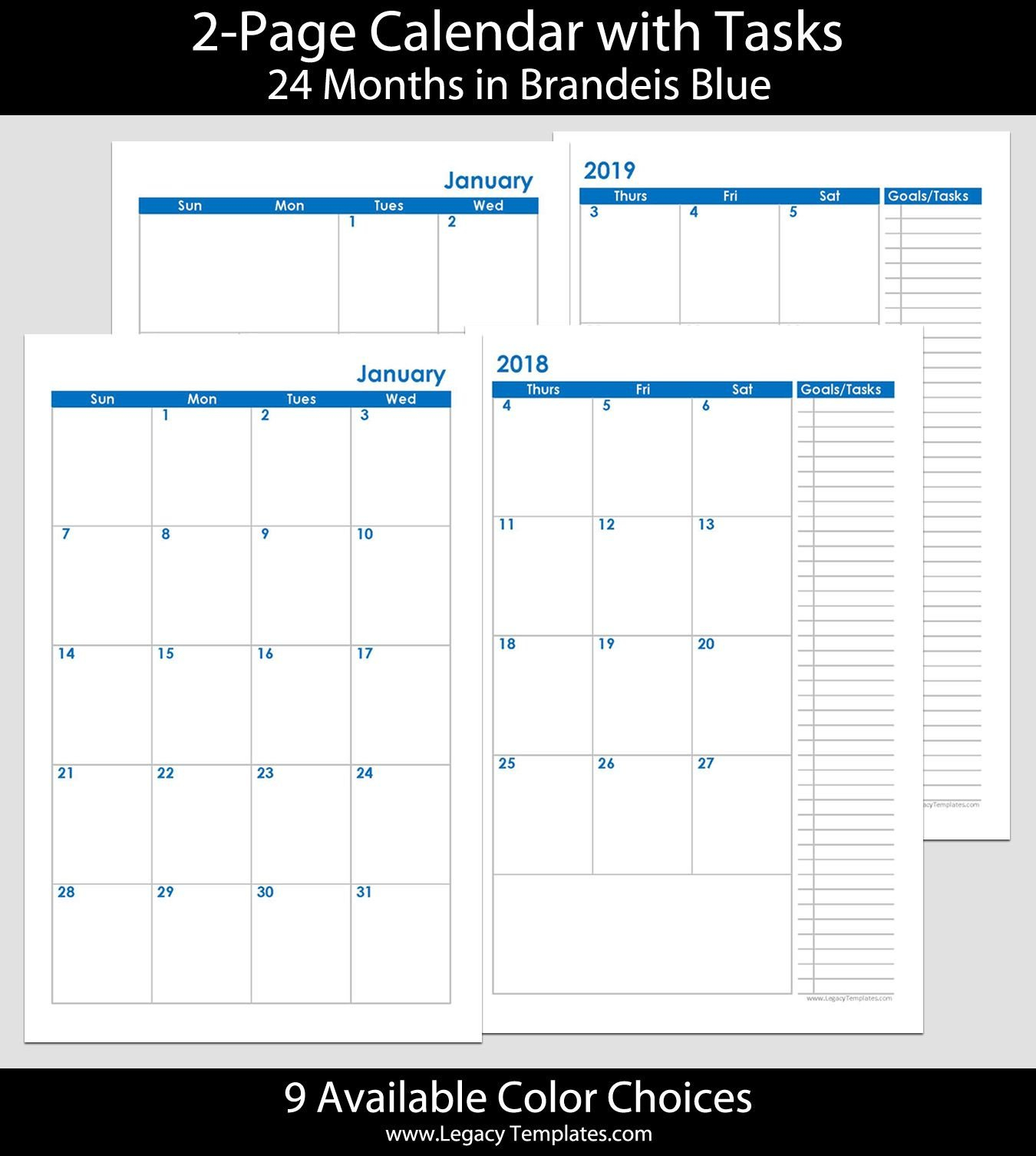 2018 & 2019 24-Months 2-Page Calendar. Printable 2-Page Calendars 2 Page Calendar 2019