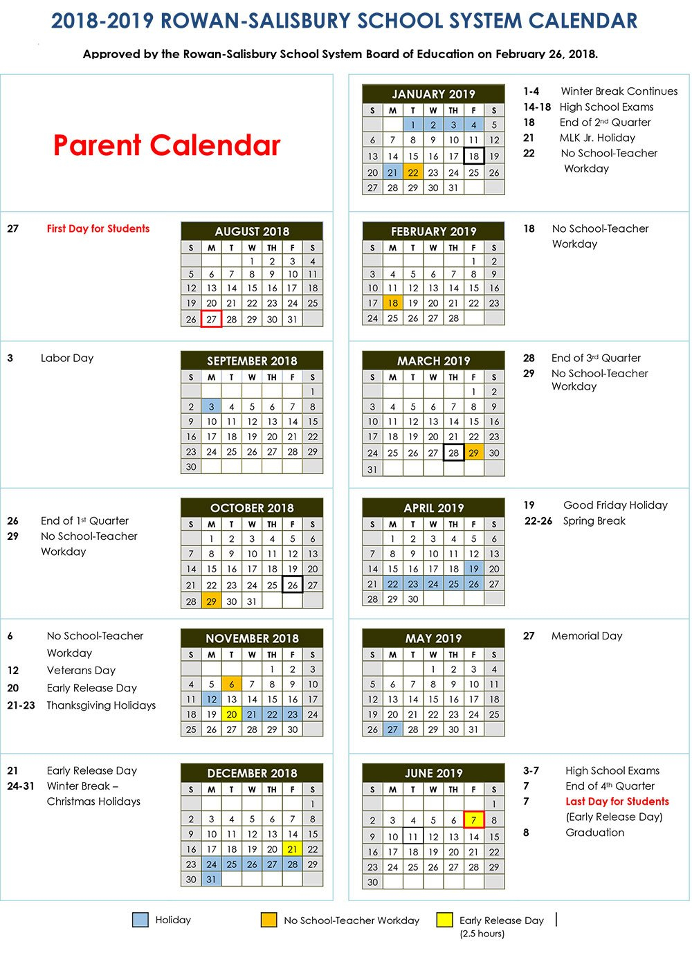 2018-2019 Calendars | Rss Post - Rowan-Salisbury Schools School District 2 Calendar 2019