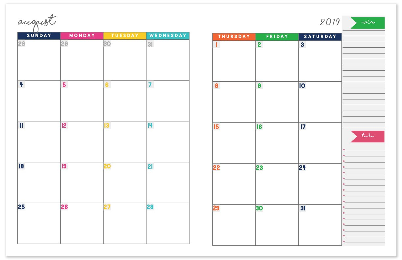2018-2019 Monthly Planner Calendar | Free Printable Planner Calendar 2019 Planner