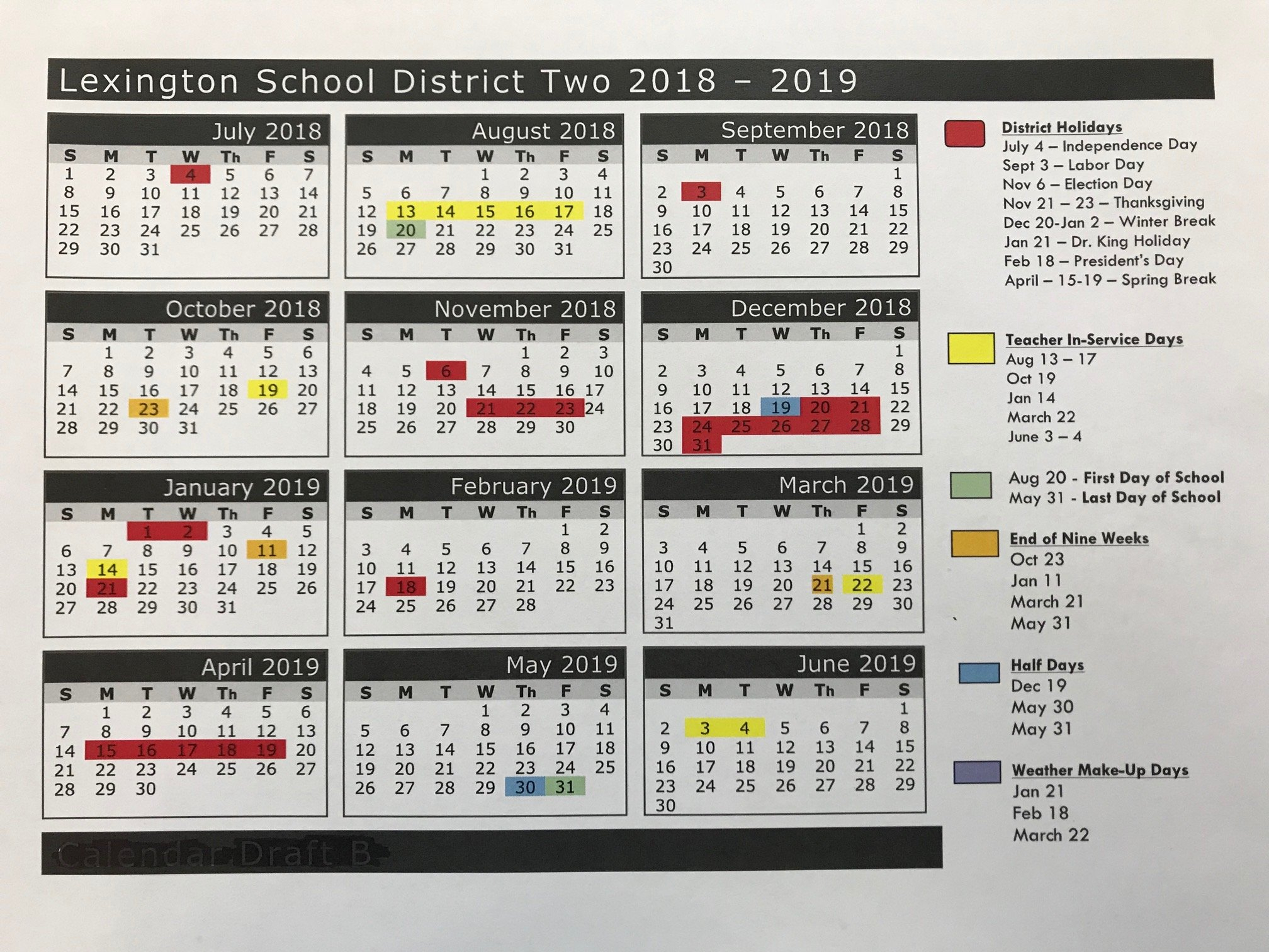 2018-2019 School Calendar – Parents – Airport High School Lexington 1 Calendar 2019