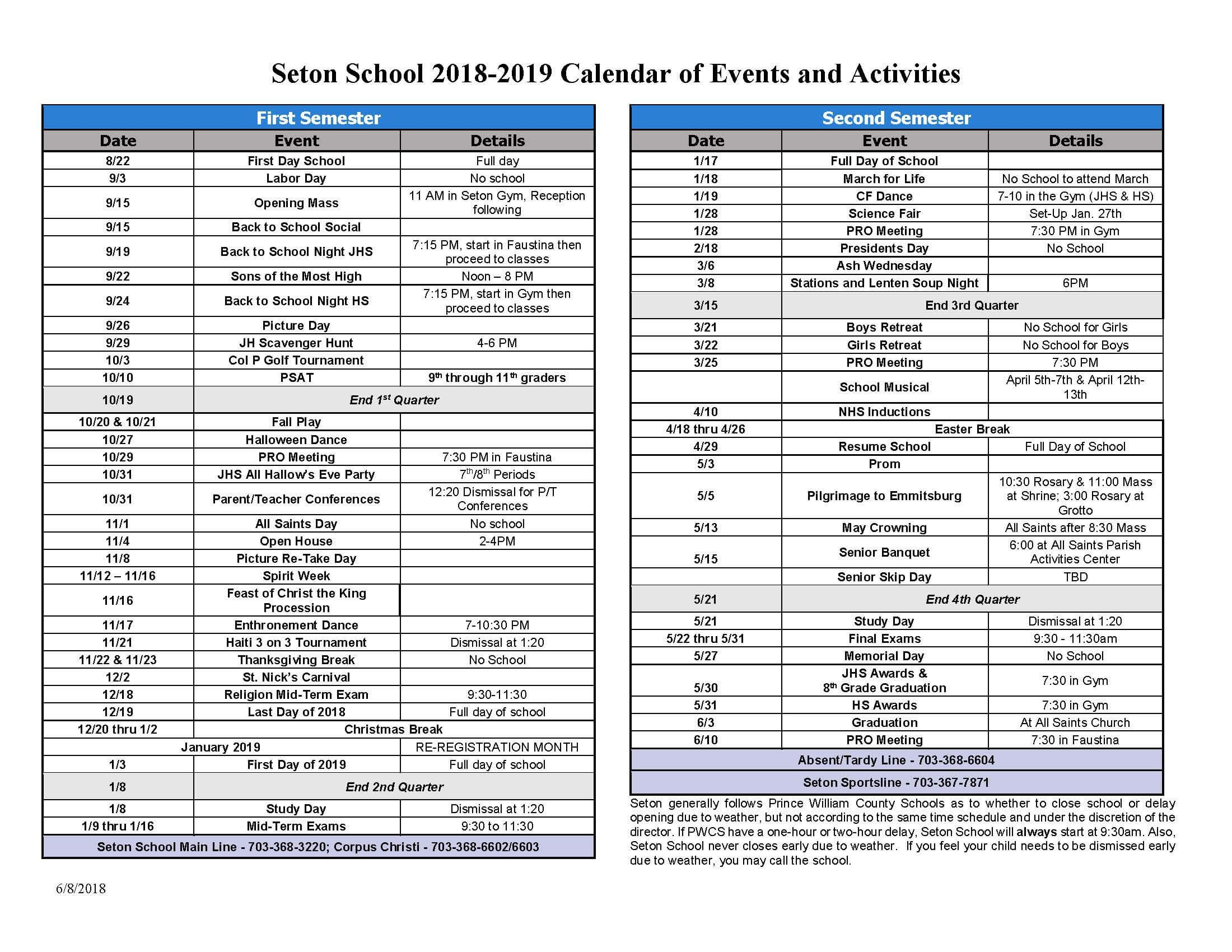 2018-2019 Seton School Calendar Of Events And Activities | Seton Calendar 2019 Of Events