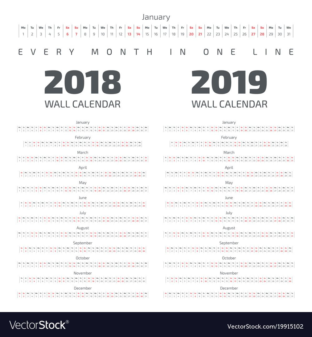 2018-2019 Wall Calendar Royalty Free Vector Image Calendar 2019 For Wall