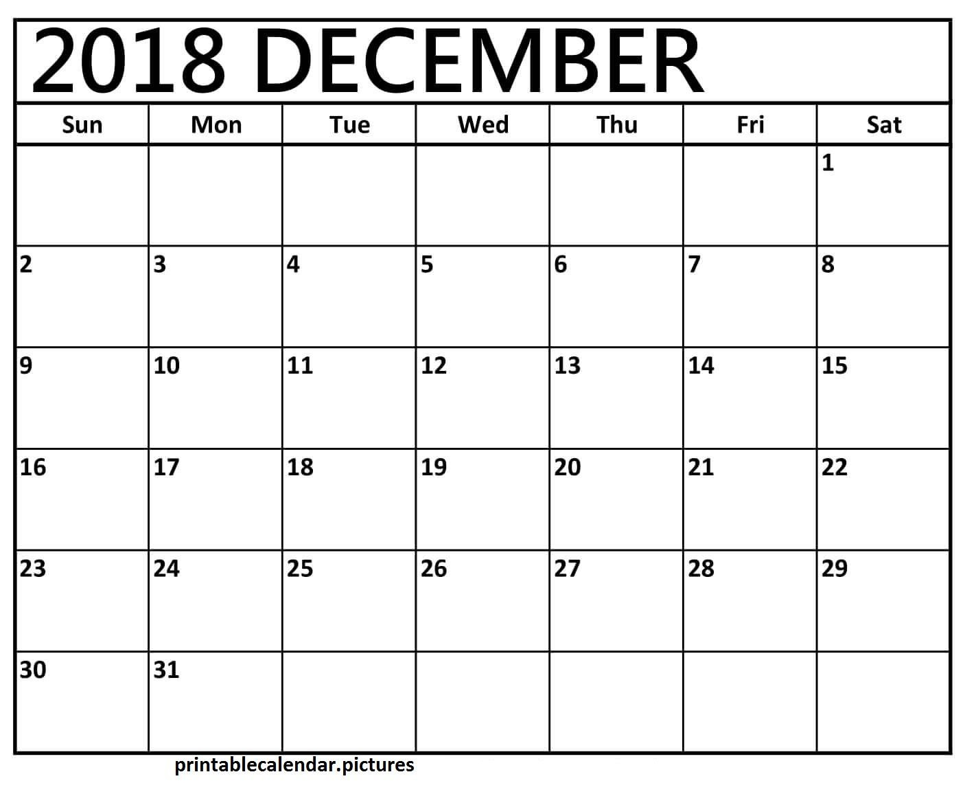 2018 December Printable Calendar Landscape | December 2018 Calendar Calendar 2019 December Printable