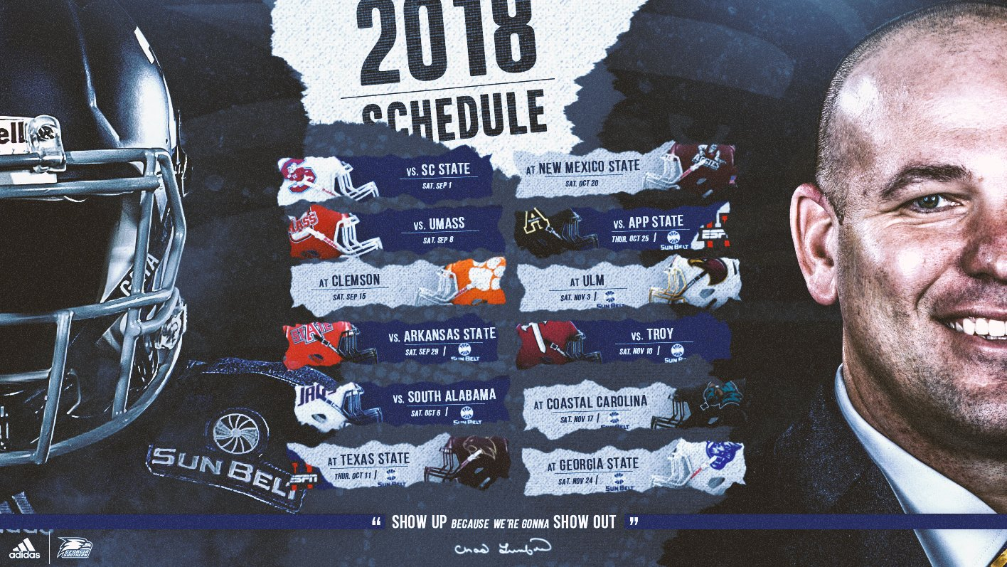 2018 Georgia Southern Football Schedule Released - Georgia Calendar 2019 Gsu