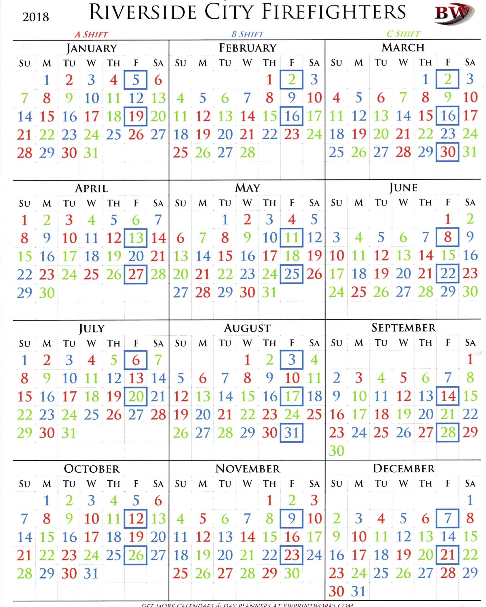 2018 Shift Calendar - Riverside City Firefighters Association B Shift Calendar 2019