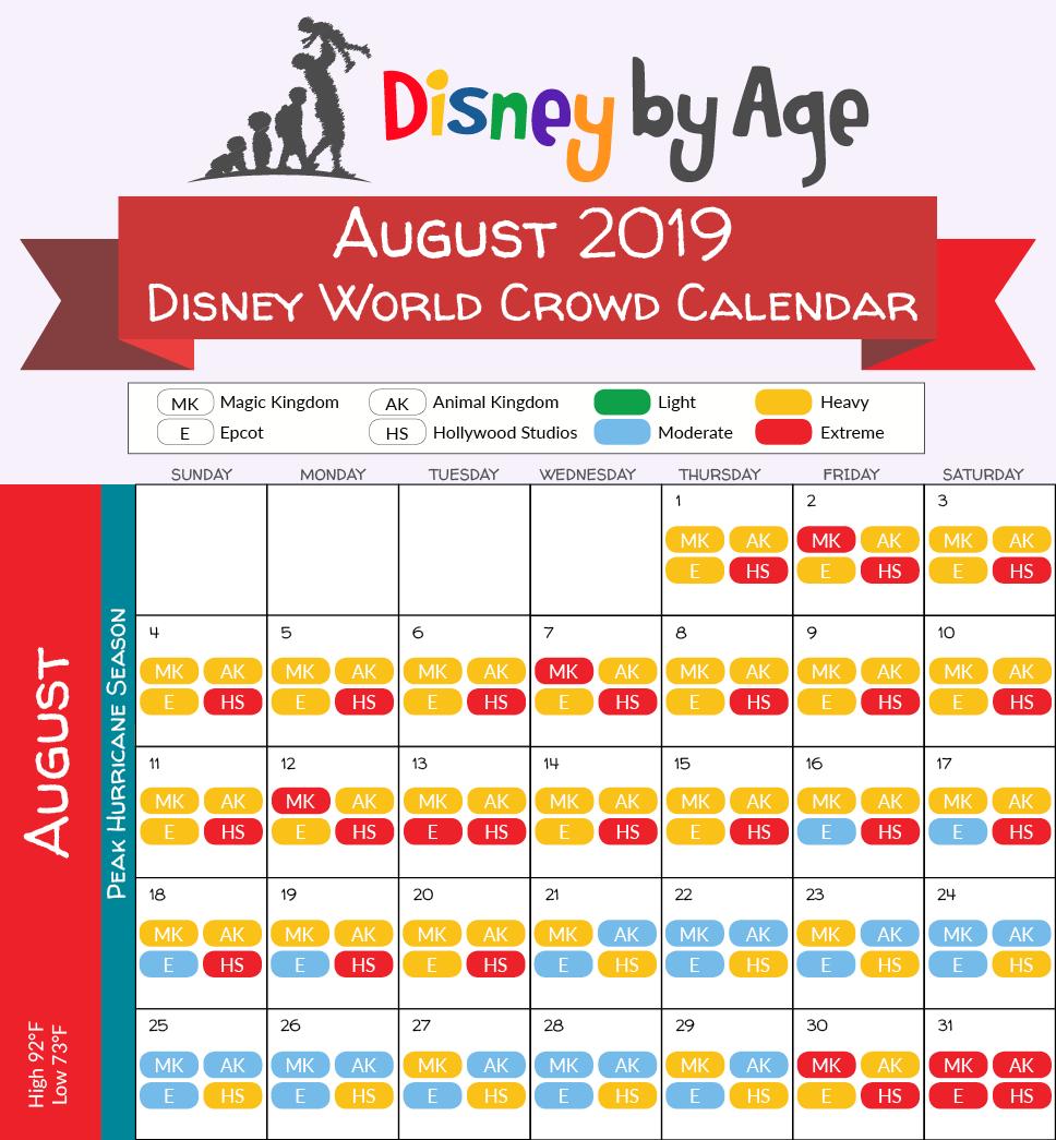 2019.08 Disney Crowd Calendar | Disneyage Calendar 2019 Disney