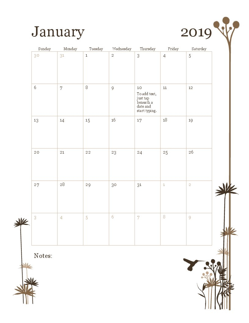 2019 12-Month Calendar (Sun-Sat) Calendar 2019 Monthly
