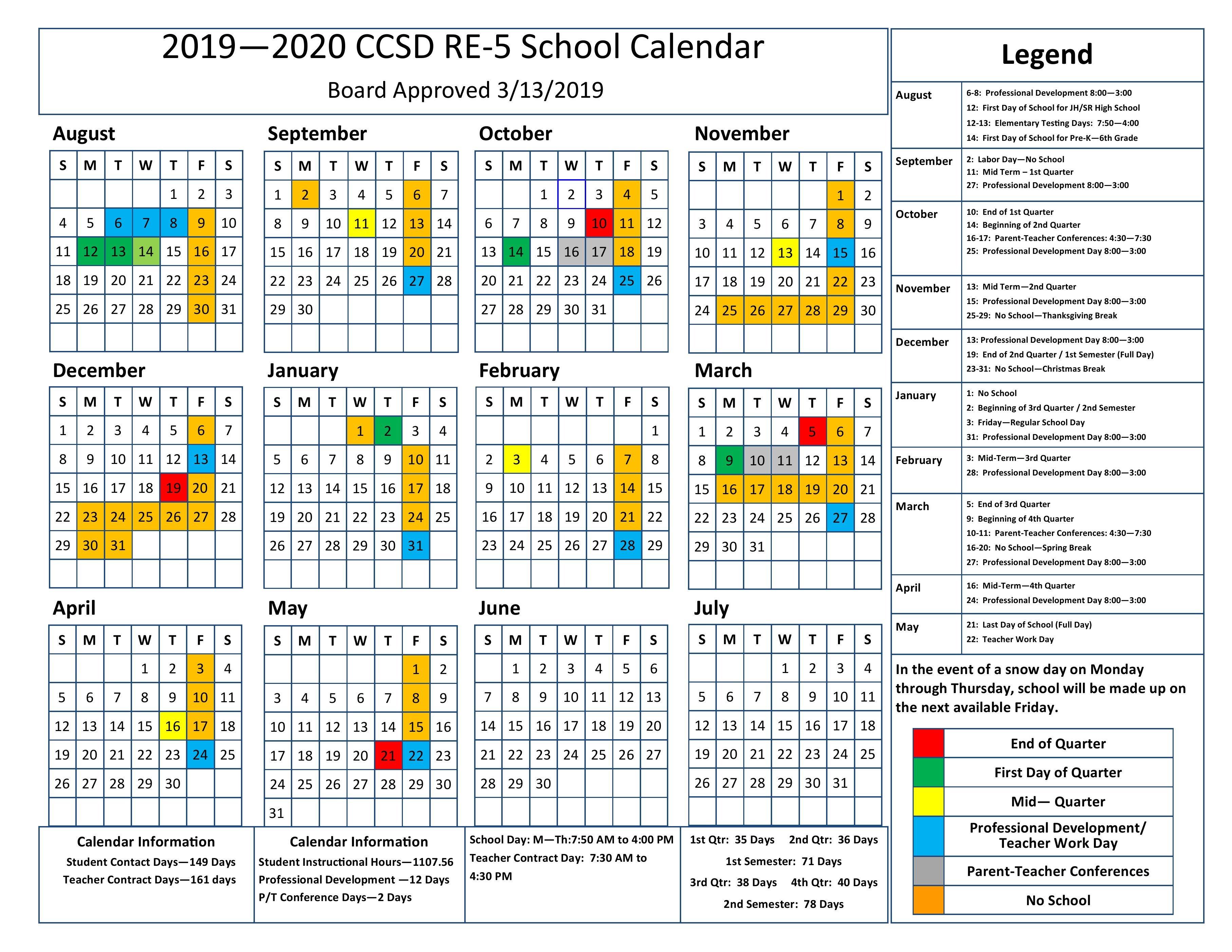 2019-20 School Calendar 3 Term School Calendar 2019