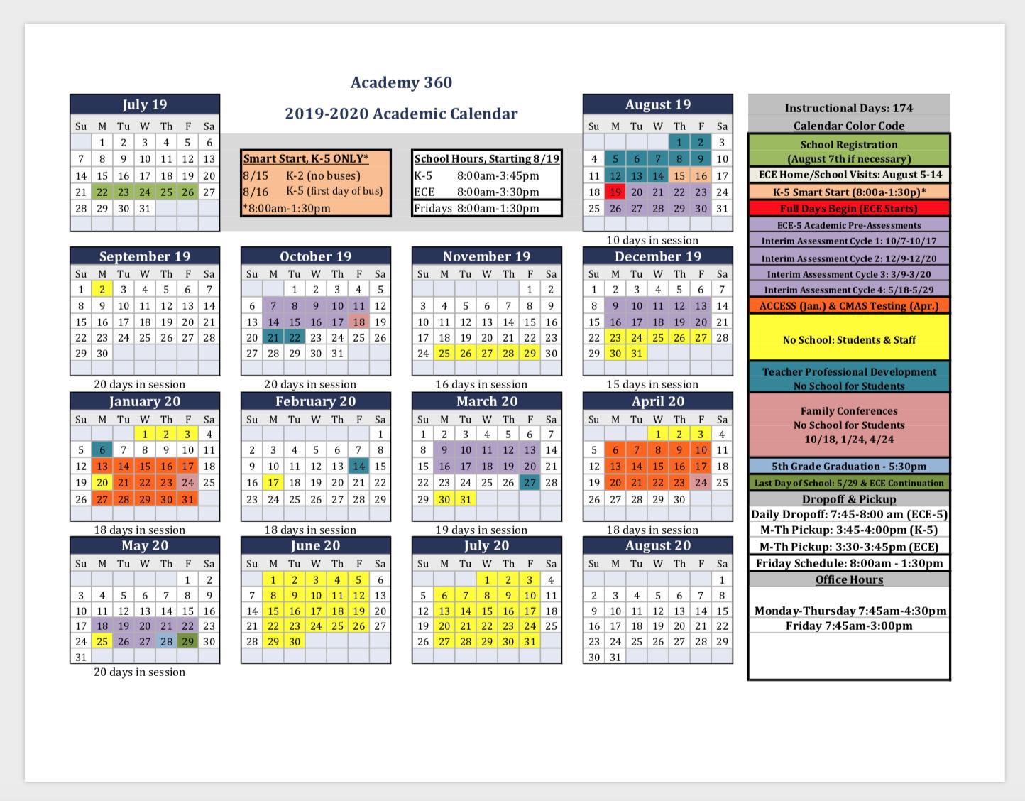2019-2020 Academic Calendar & Back To School Registration - Academy 360 M Day Calendar 2019