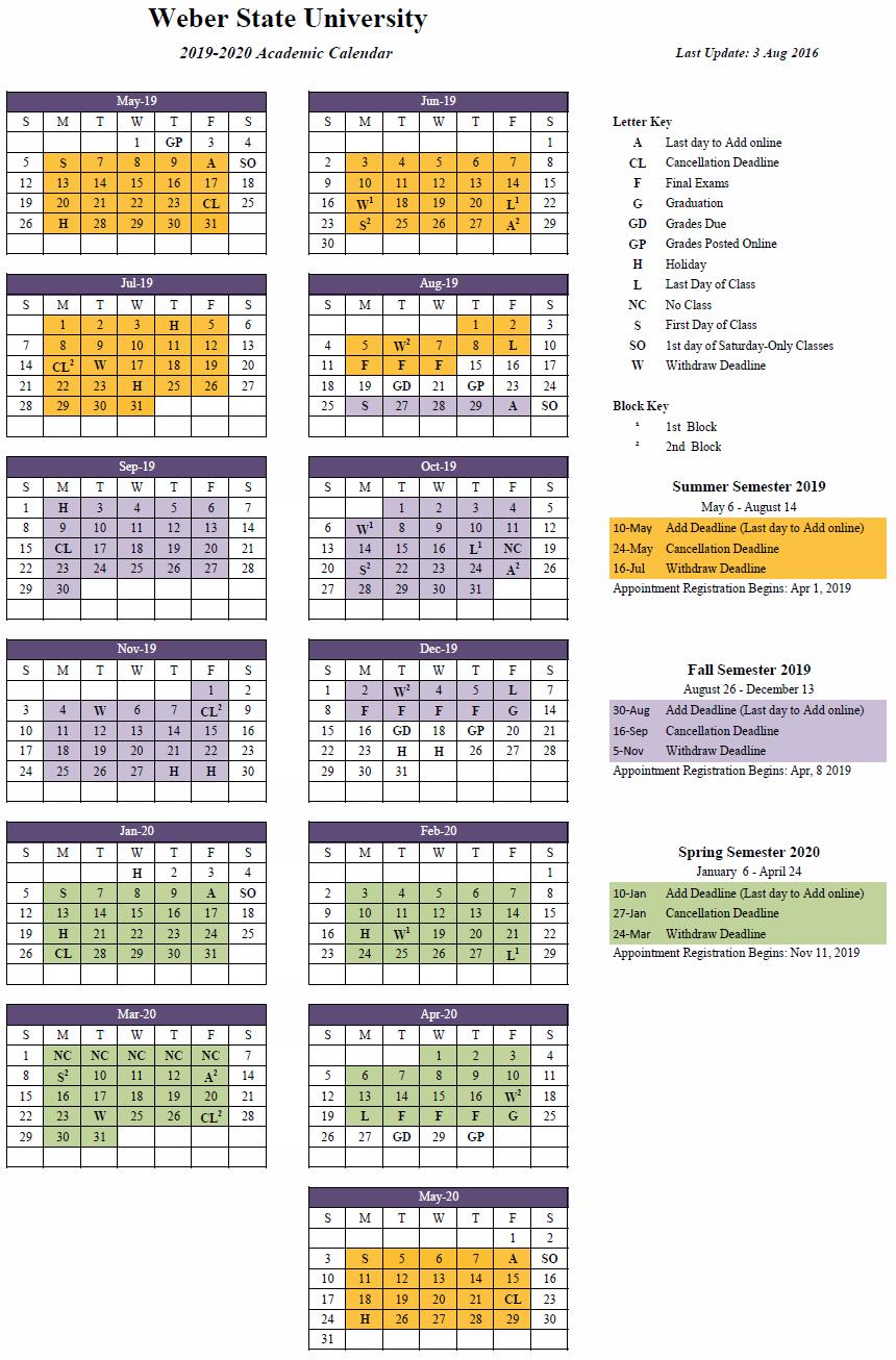 2019-2020 (Approved) Cal U Calendar 2019