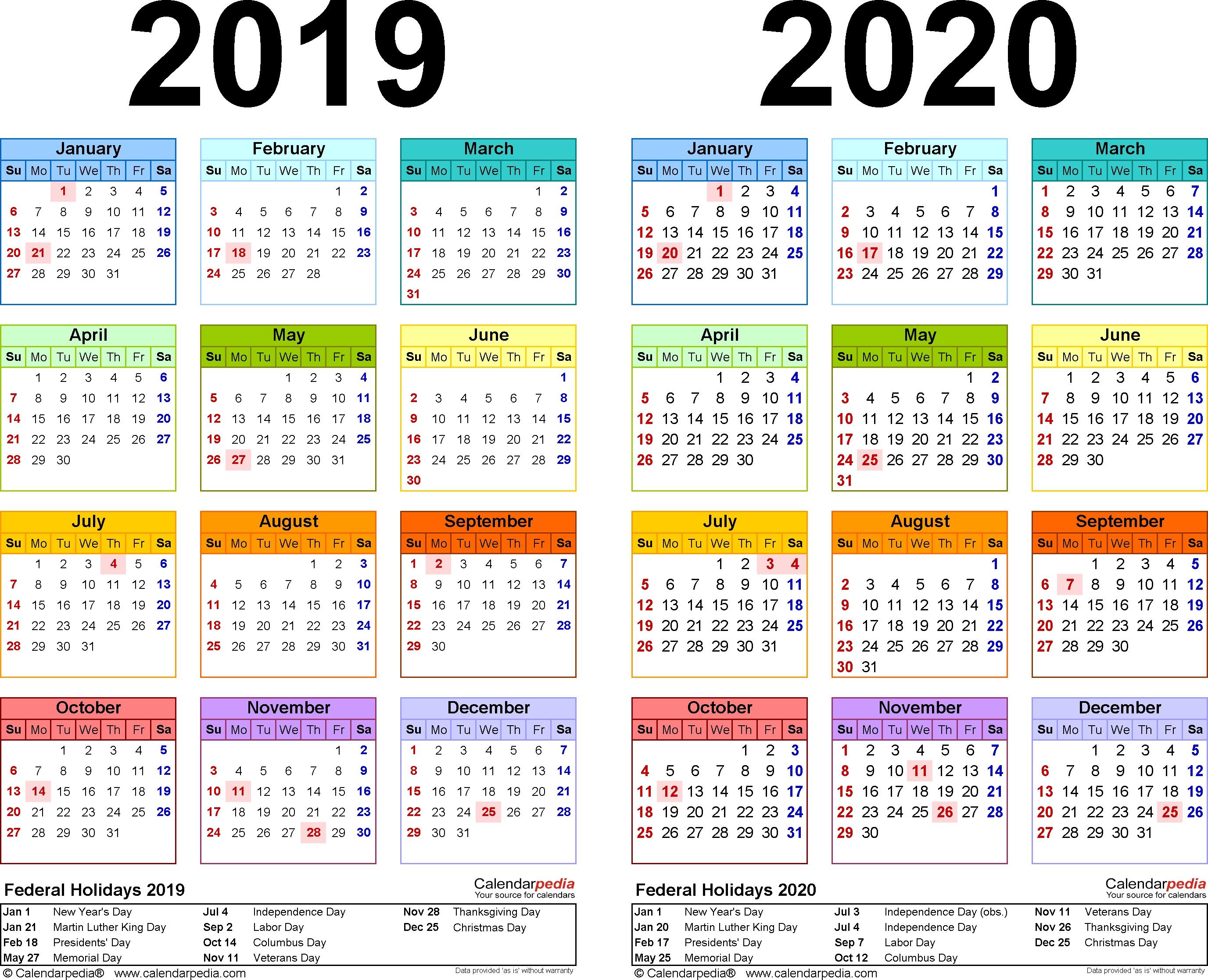 2019-2020 Calendar – Free Printable Two-Year Pdf Calendars 2020 Calendar 2019 Indesign