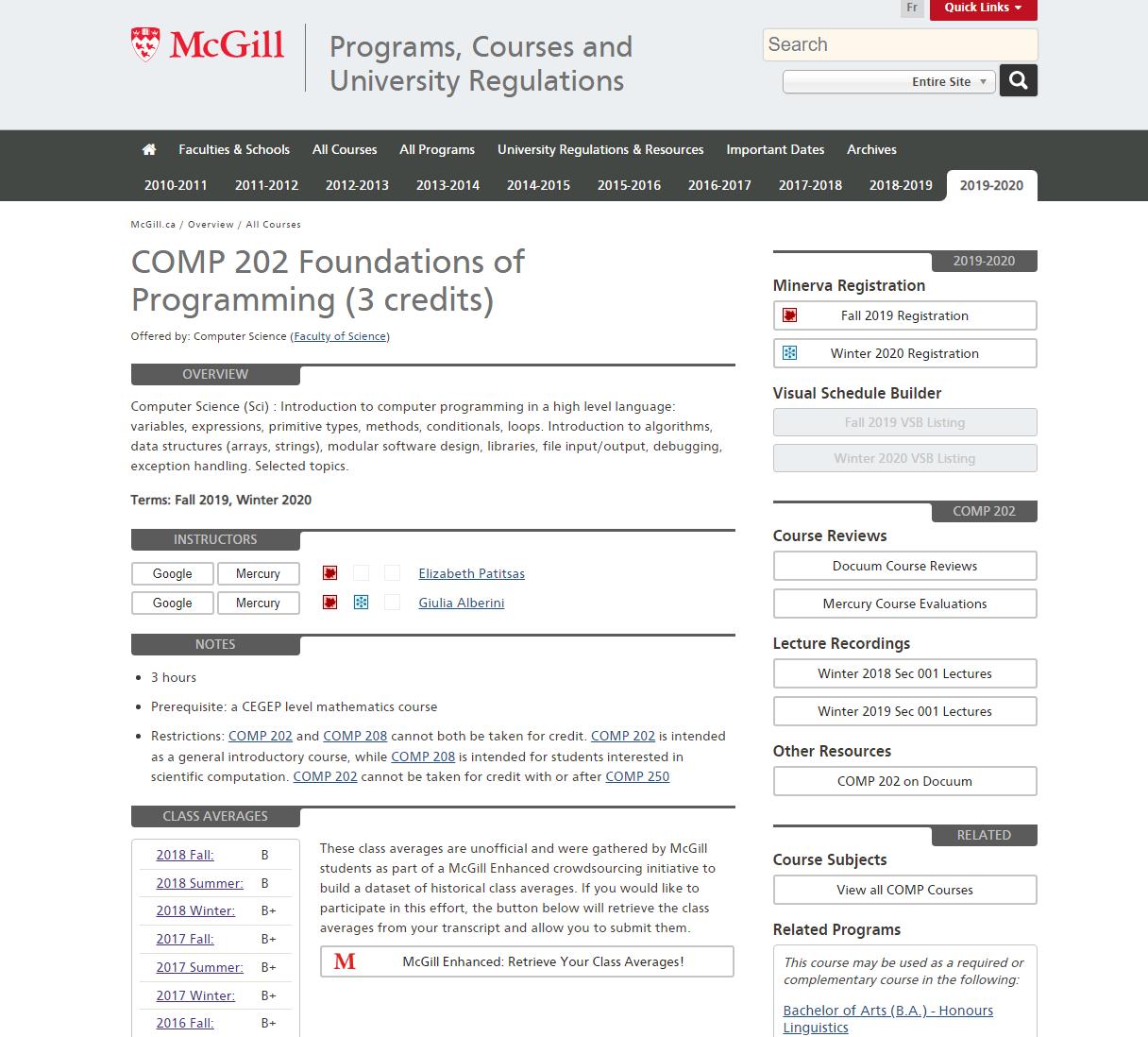 2019-2020 Courses Available On The Ecalendar : Mcgill Mcgill E Calendar 2019