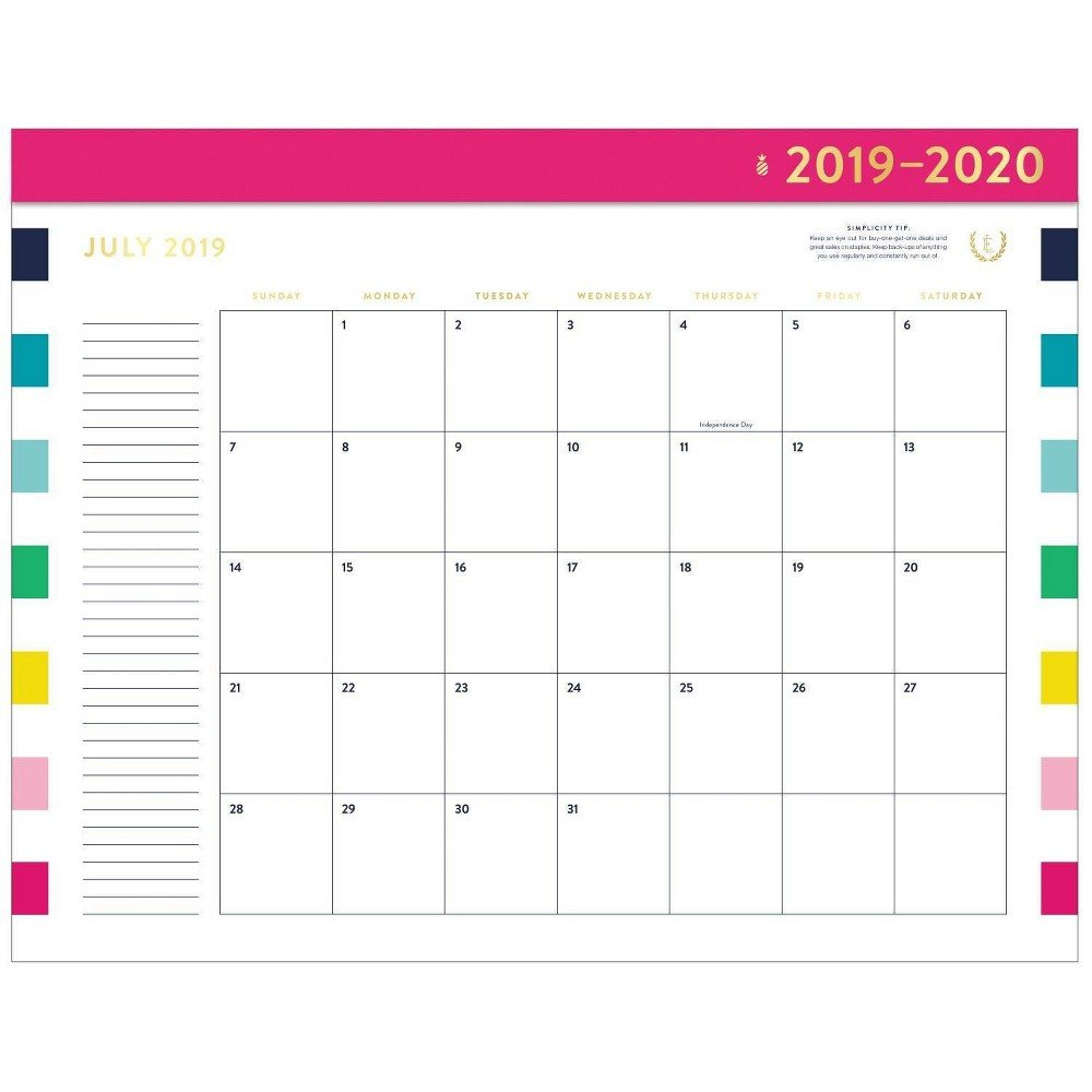 2019-2020 Happy Stripe Academic Desktop Calendar - Emily Ley In 2019 Calendar 2019 At Target