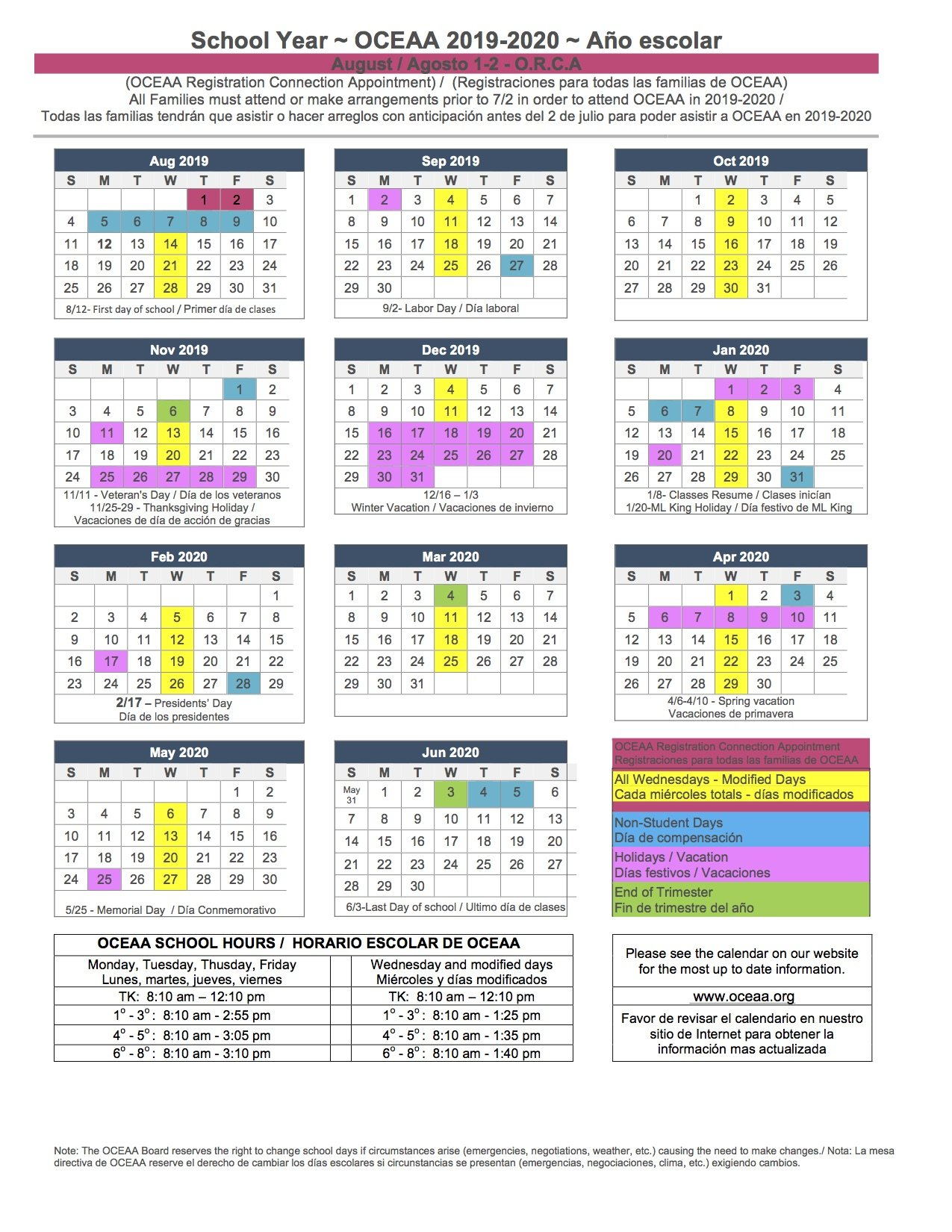 2019-2020 School Year Calendar - Oceaa - A Tk-8Th Santa Ana Charter School District 2 Calendar 2019