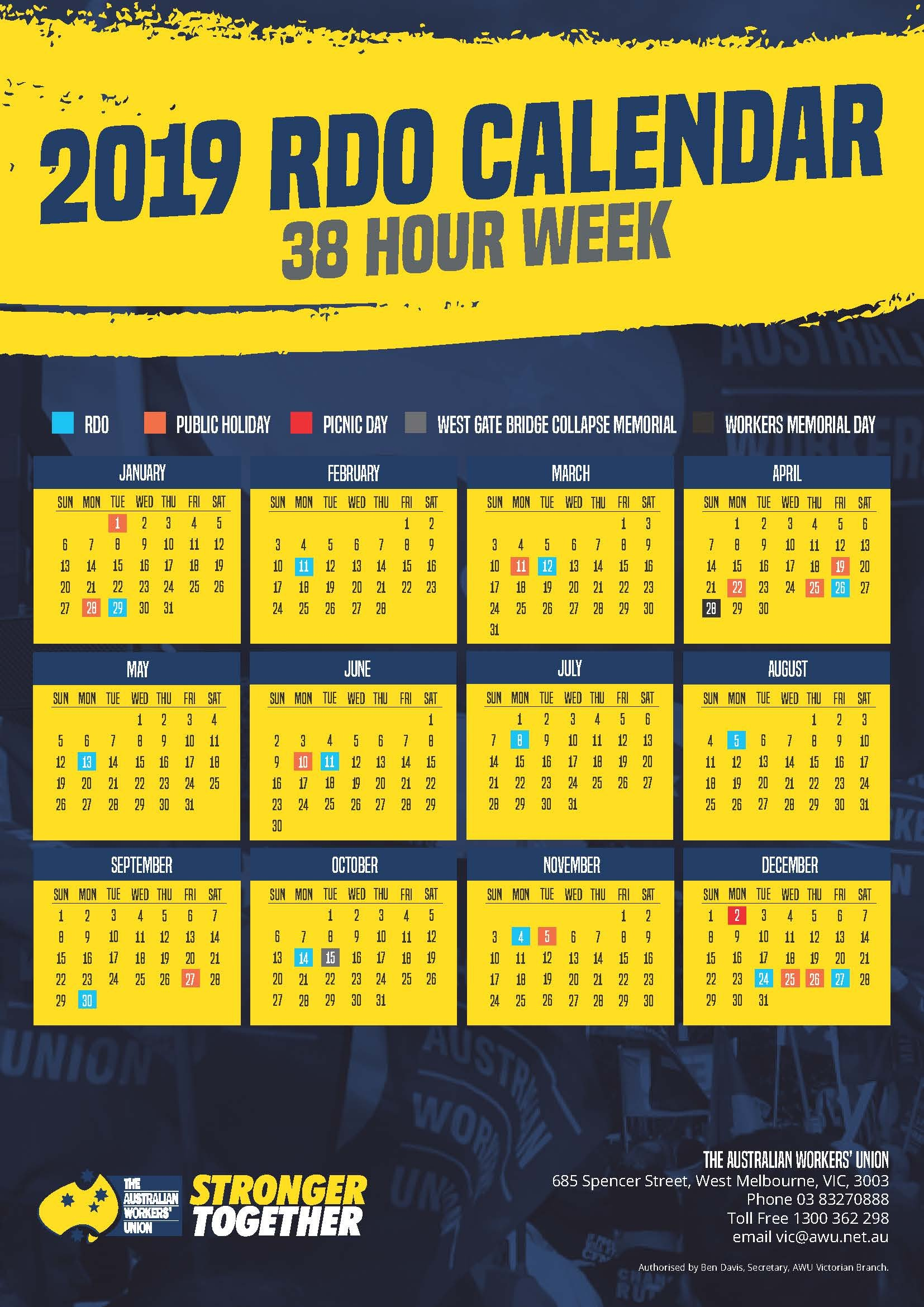 2019 36 And 38 Hour Week Rdo Calendars | Awu Victoria Calendar 2019 Victoria