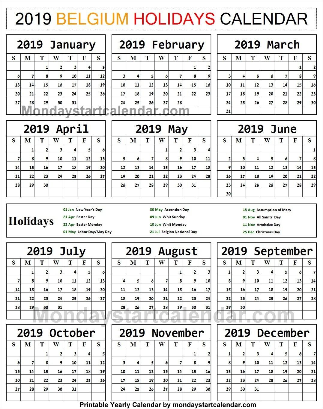 2019 Bank Holidays Belgium Calendar | 2019 Austria Calendar Templates Calendar 2019 Belgium