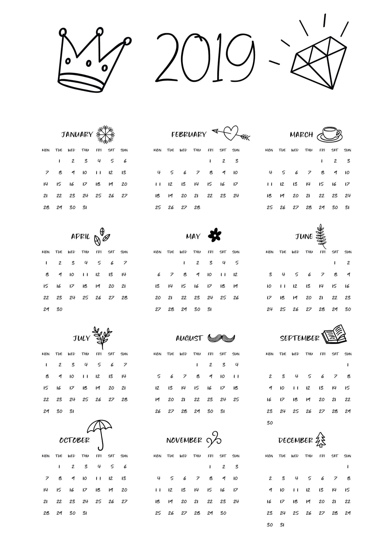 2019 Calendar - Beta Calendars Calendar 2019 Printable
