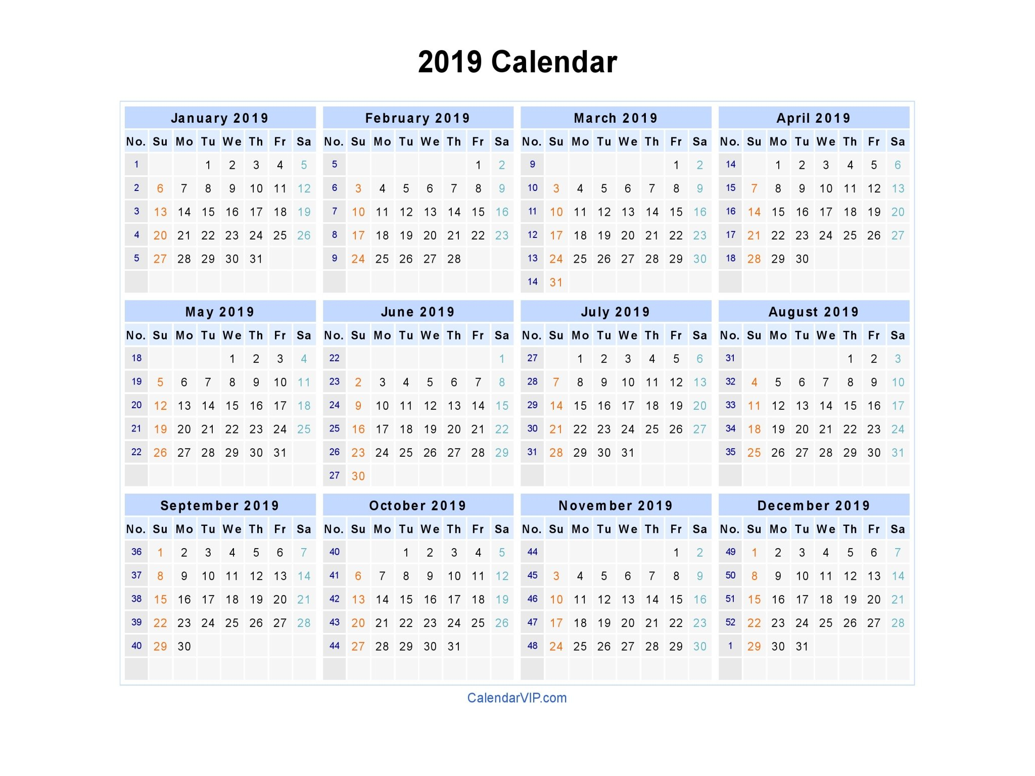 2019 Calendar - Blank Printable Calendar Template In Pdf Word Excel Calendar 2019 Excel With Week Numbers
