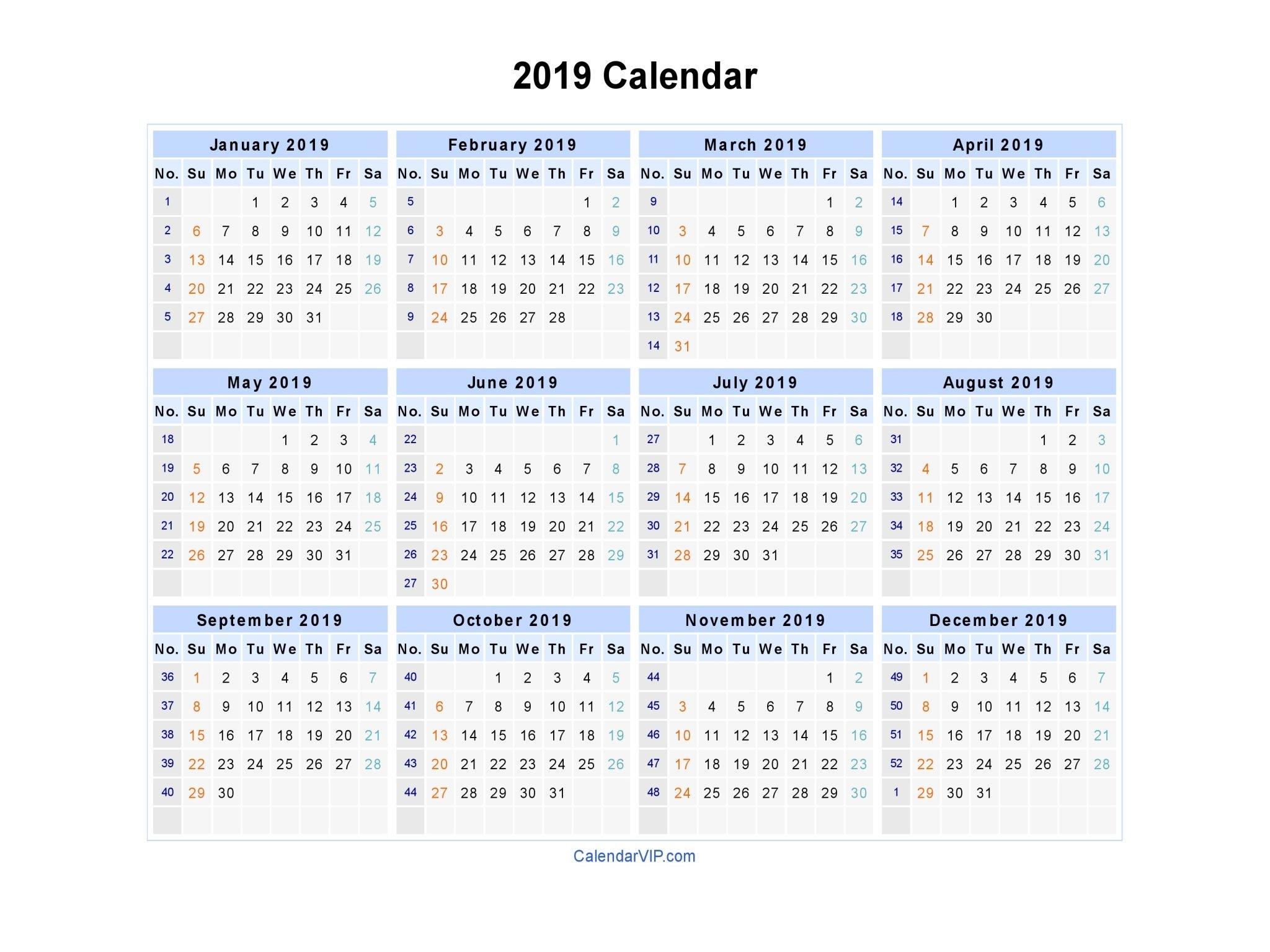 2019 Calendar - Blank Printable Calendar Template In Pdf Word Excel Calendar 2019 Numbered Weeks