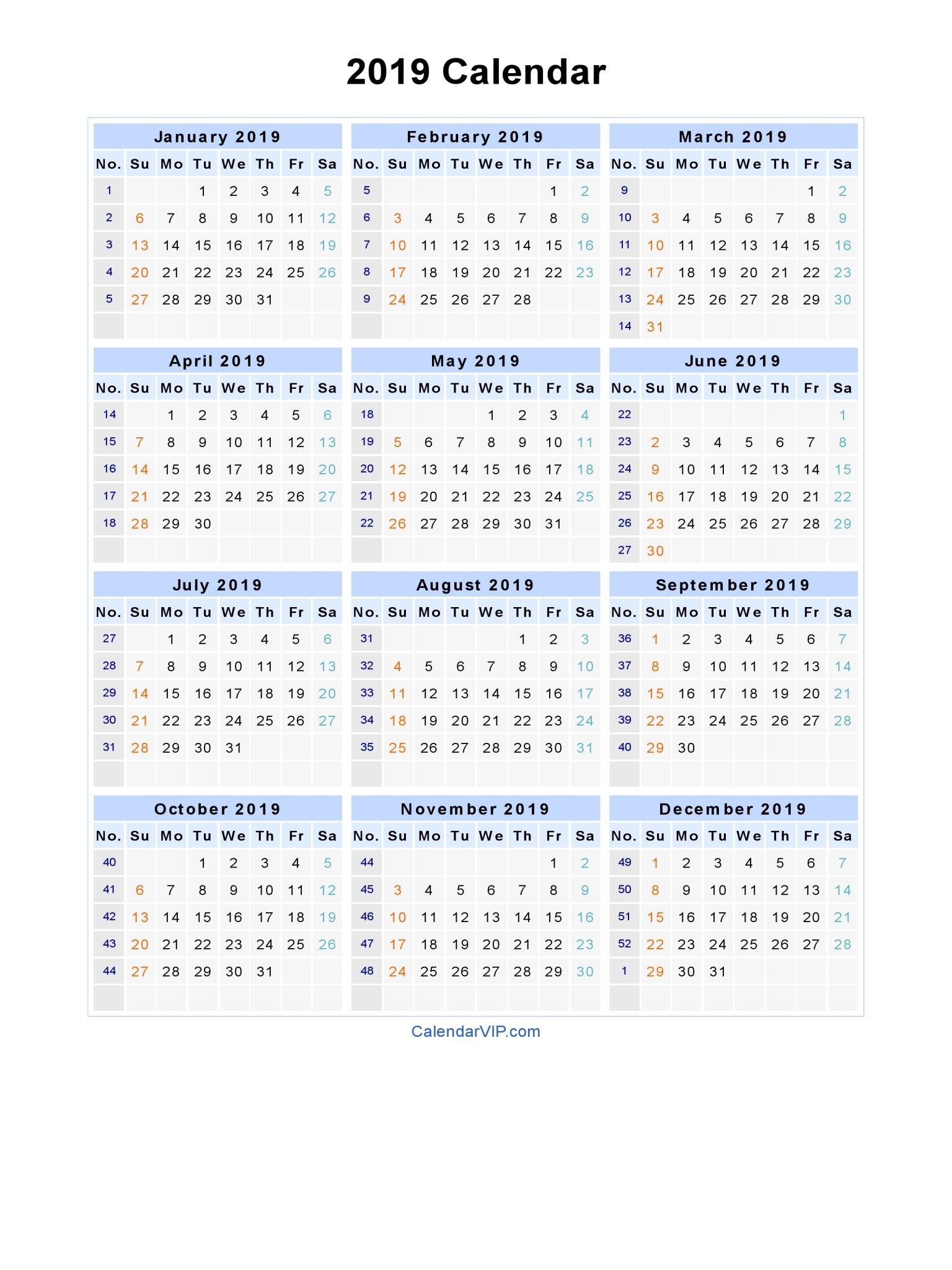 2019 Calendar - Blank Printable Calendar Template In Pdf Word Excel Calendar 2019 Weeks