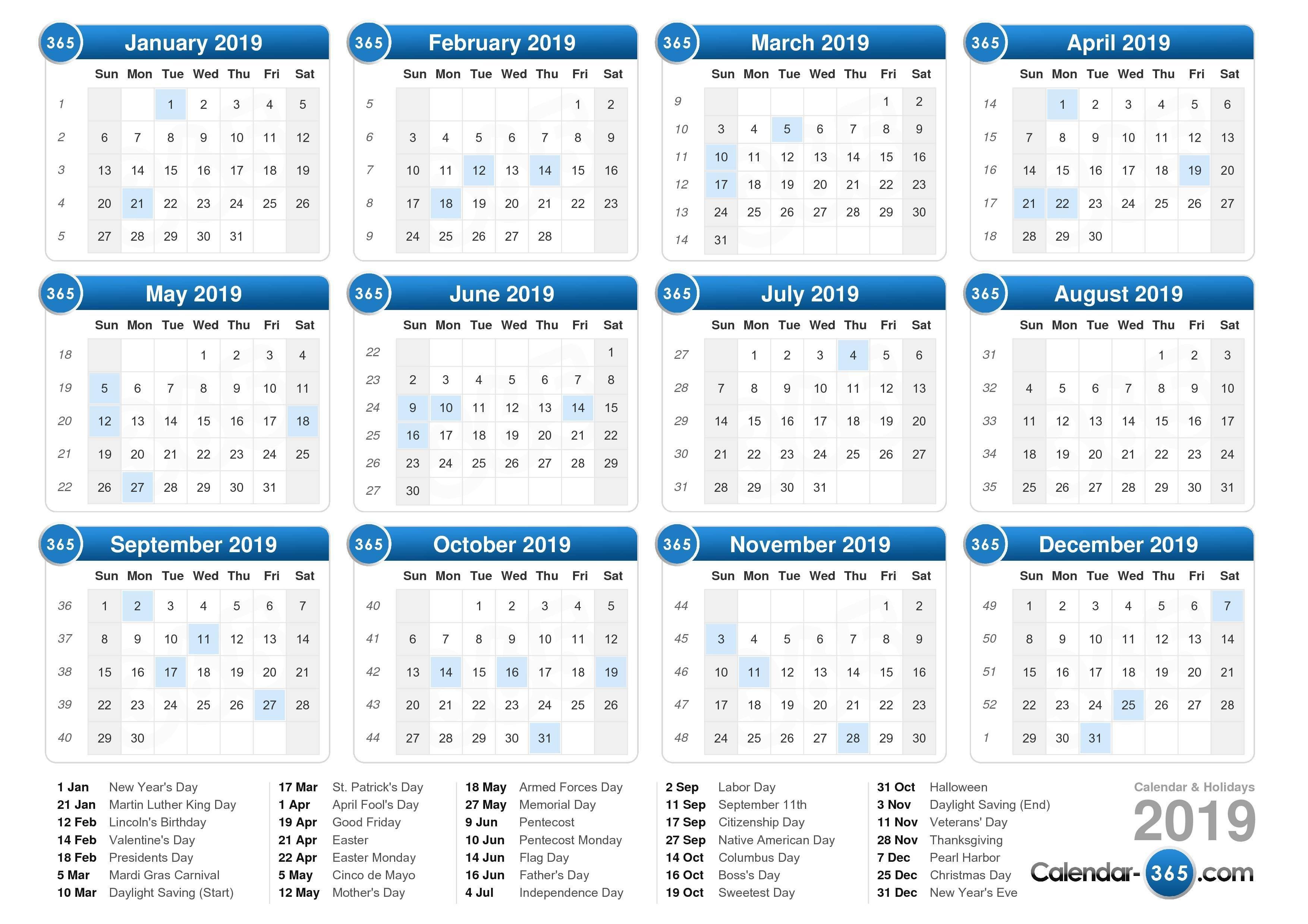 2019 Calendar Calendar 0F 2019